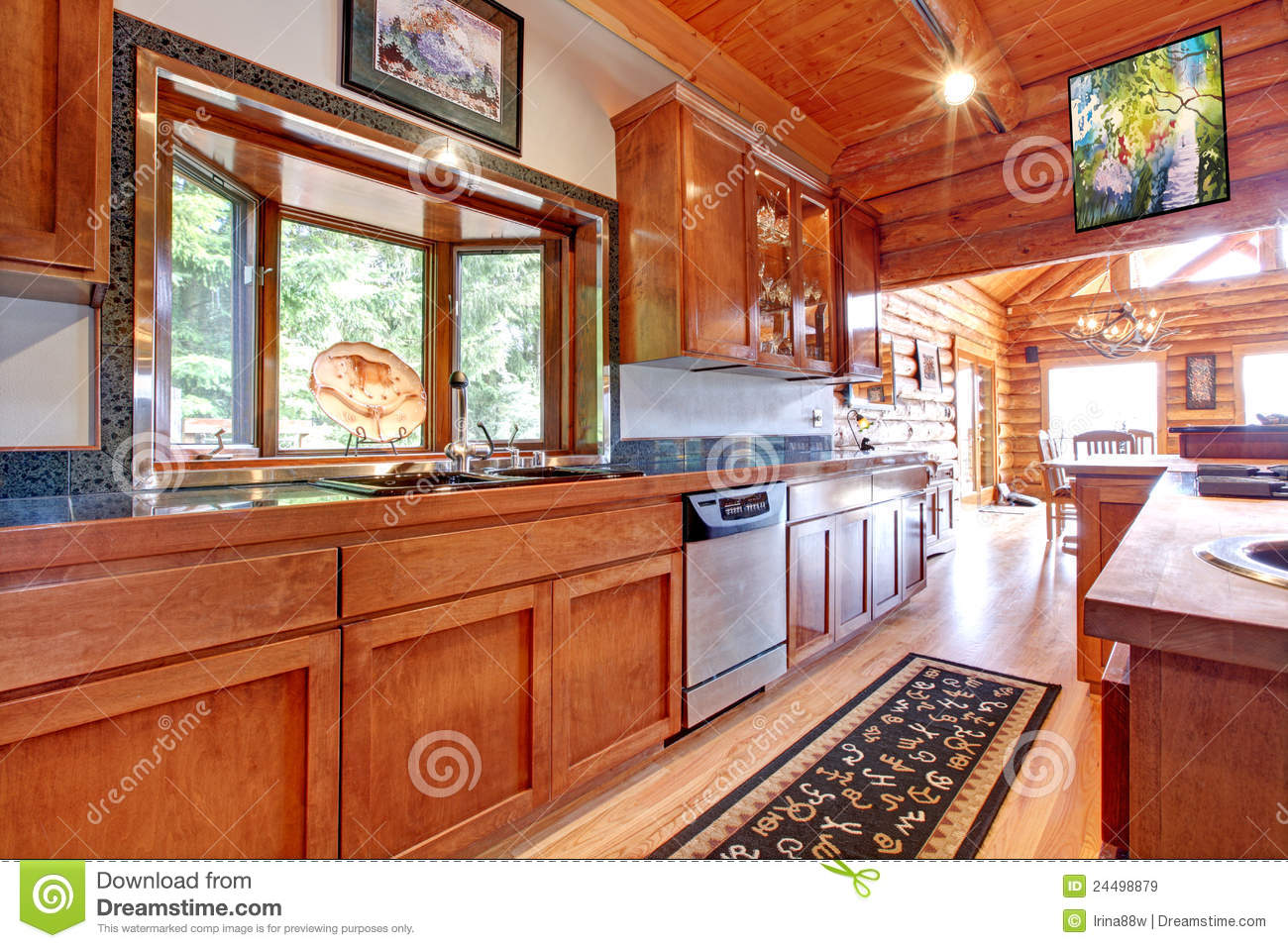 Large Kitchen Lof Cabin House Interior Royalty Free Stock Images