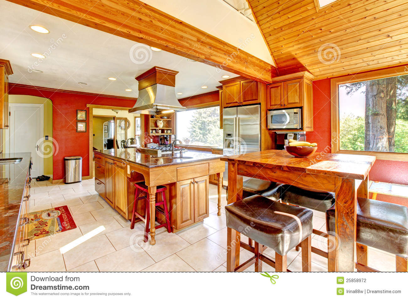 Large kitchen with red walls and wood ceiling stock for Large pictures for kitchen walls