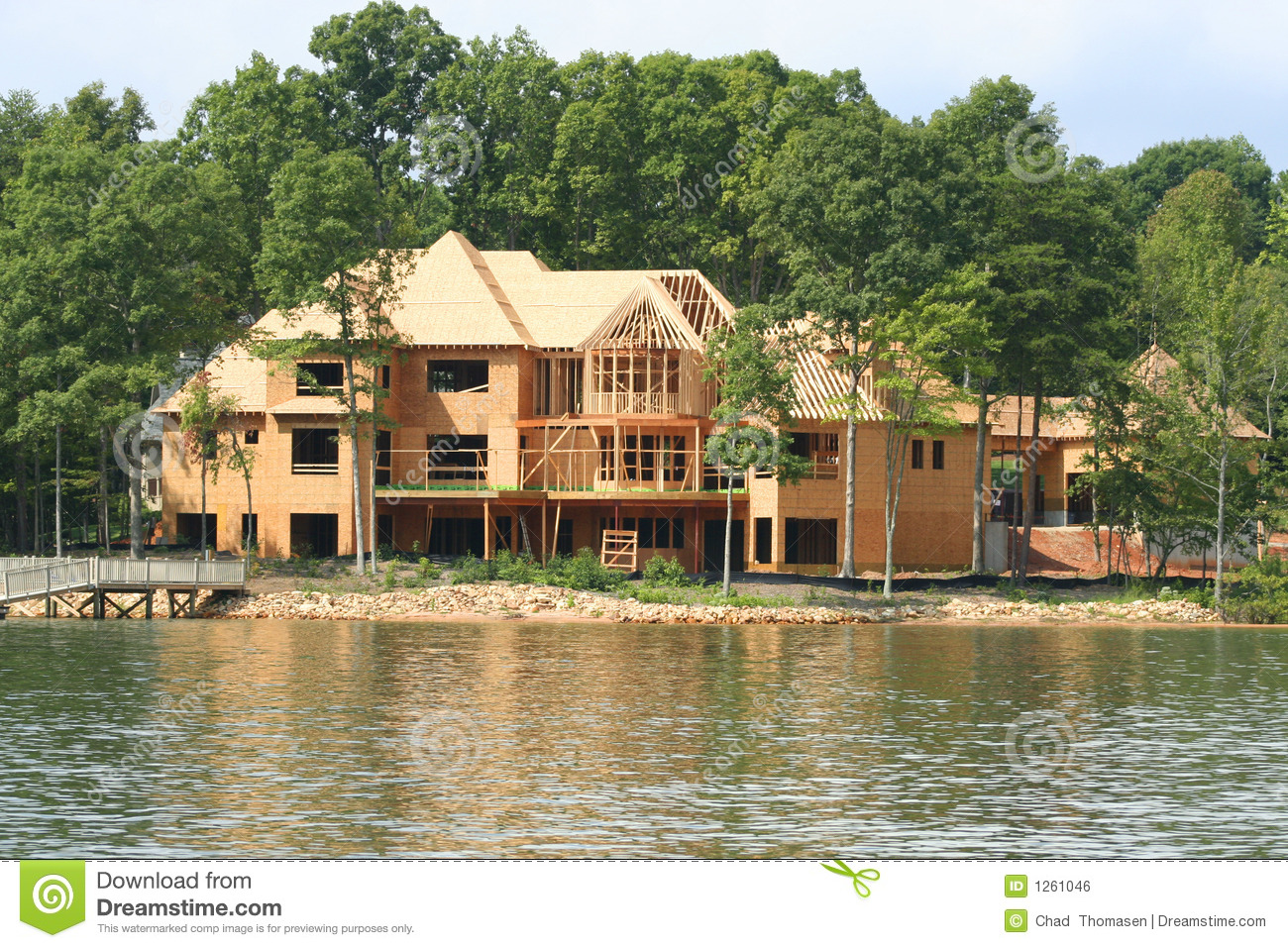 Large lake house stock photo image of house rich for Building a lake house