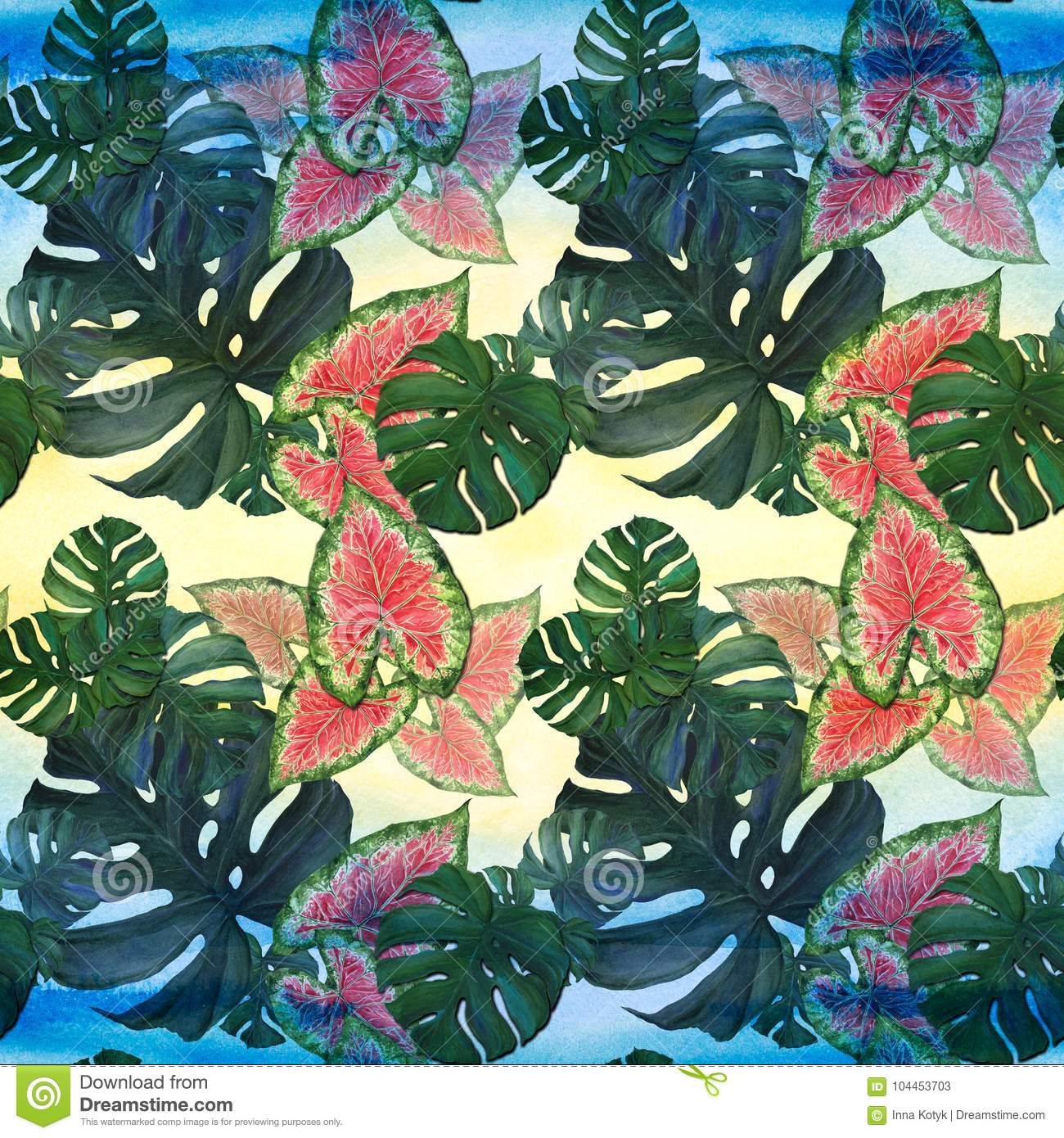 Large Leaves Of Tropical Plants Decorative Composition On A - Large decorative maps