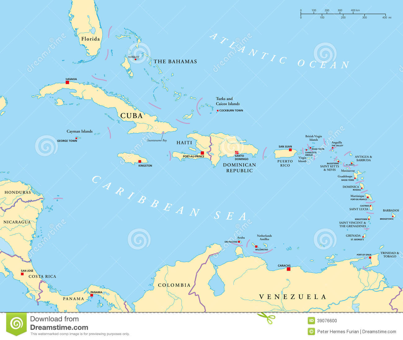 Large And Lesser Antilles Political Map Stock Vector ...