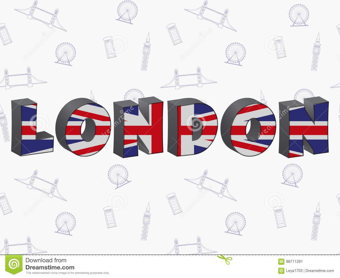 Large Letters London With The UK Flag Stock Vector