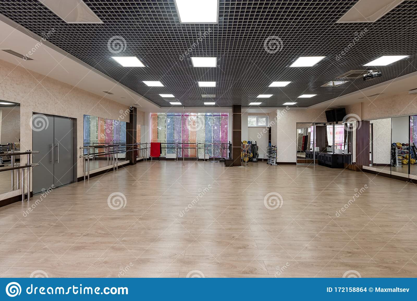 Group Fitness Room Modern Interior Design Fitness Workout Fitness Gym Background Gym Equipment Background Empty Stock Photo Image Of Leisure Nobody 172158864