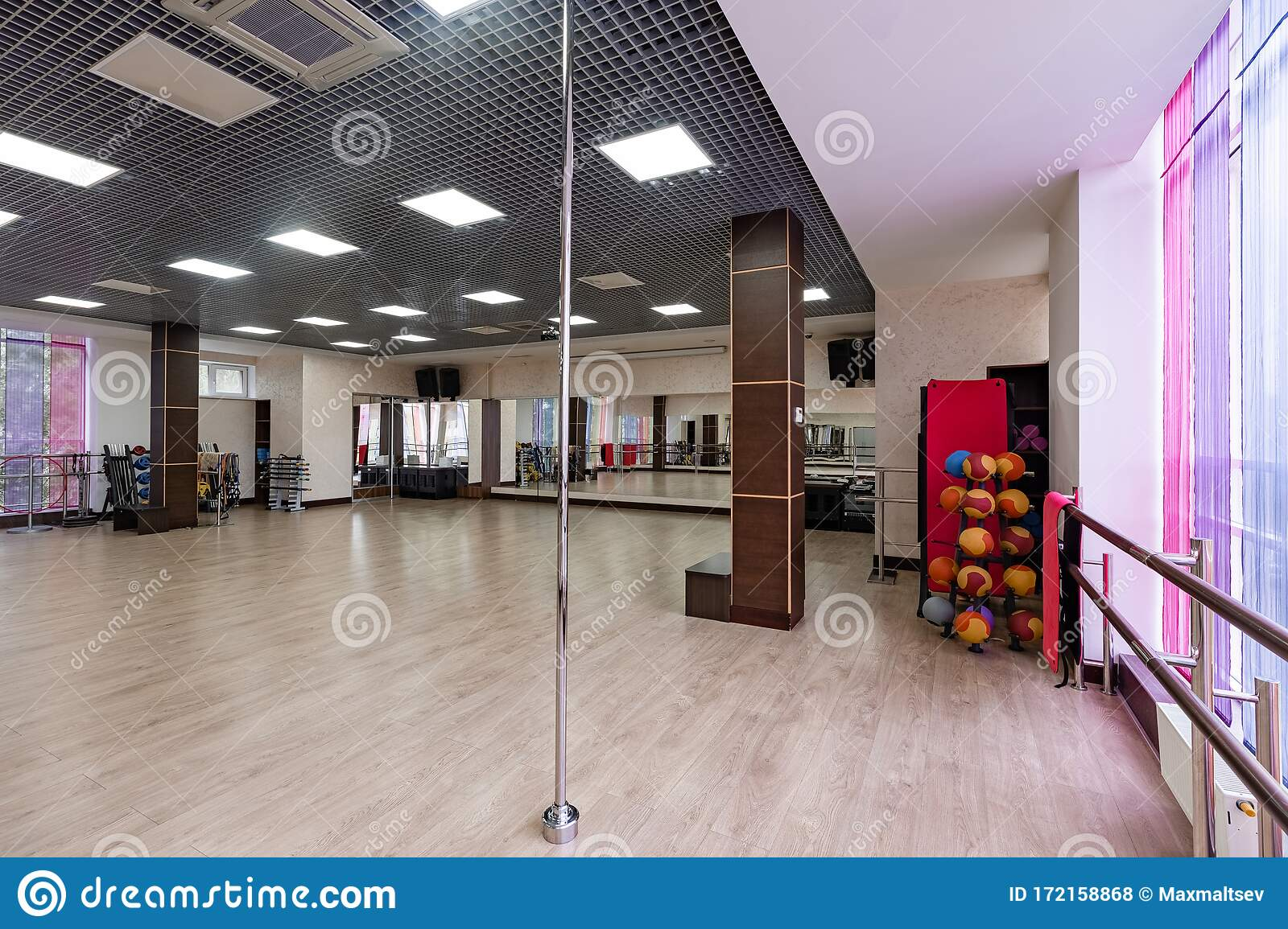 Group Fitness Room Modern Interior Design Fitness Workout Fitness Gym Background Gym Equipment Background Empty Stock Photo Image Of Equipment Floor 172158868