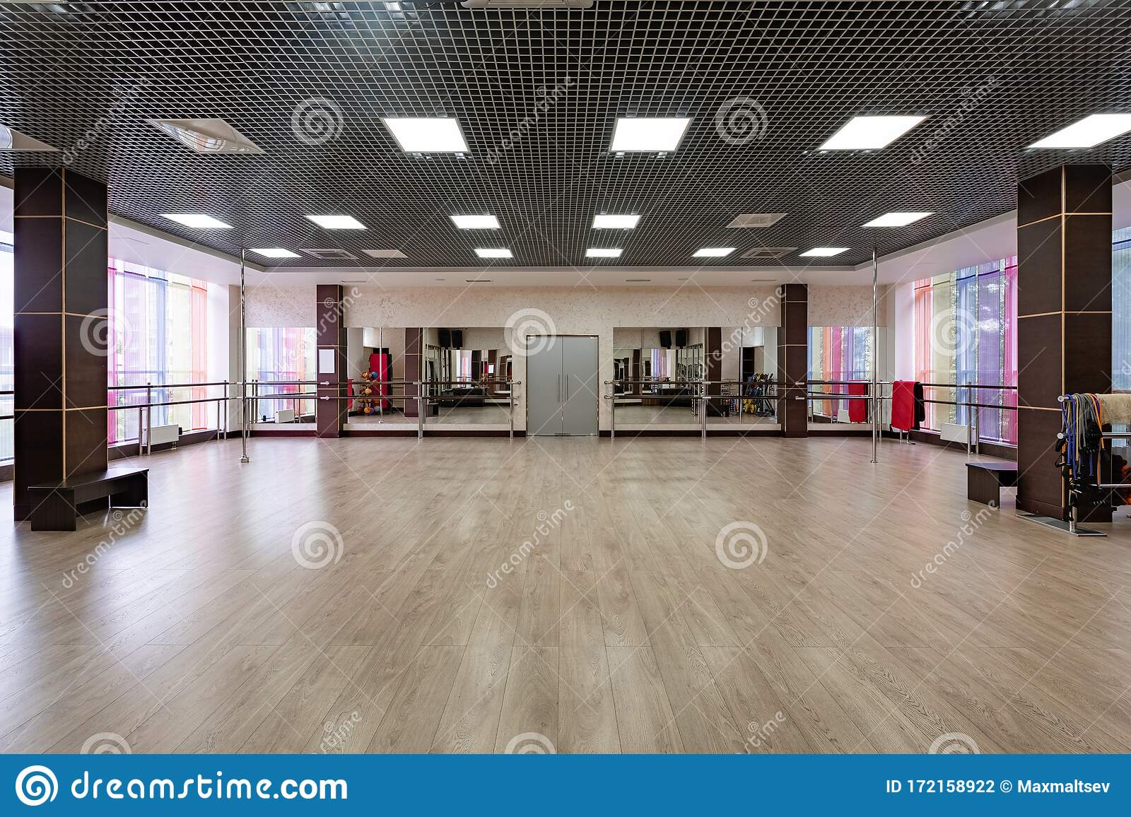 Group Fitness Room Modern Interior Design Fitness Workout Fitness Gym Background Gym Equipment Background Empty Stock Photo Image Of Flexibility Fitness 172158922