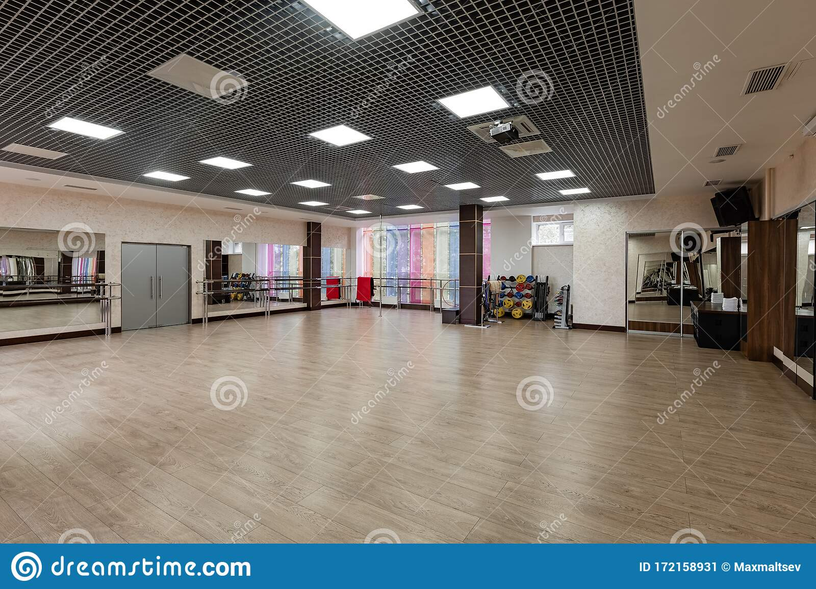 Group Fitness Room Modern Interior Design Fitness Workout Fitness Gym Background Gym Equipment Background Empty Stock Image Image Of Interior Flexibility 172158931
