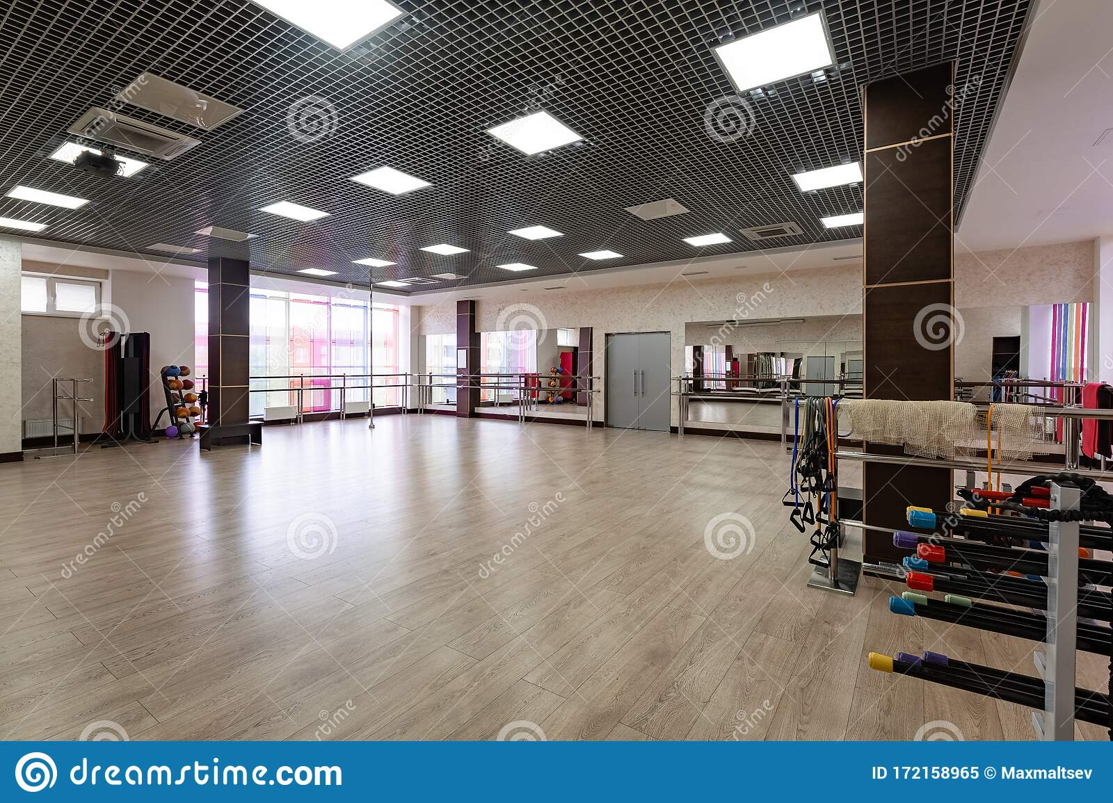 Group Fitness Room Modern Interior Design Fitness Workout Fitness Gym Background Gym Equipment Background Empty Stock Image Image Of Equipment Floor 172158965