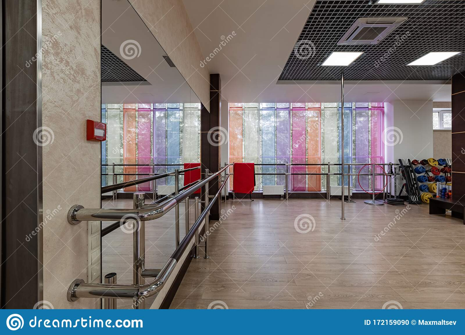 Group Fitness Room Modern Interior Design Fitness Workout Fitness Gym Background Gym Equipment Background Empty Stock Photo Image Of Exercise Cardio 172159090