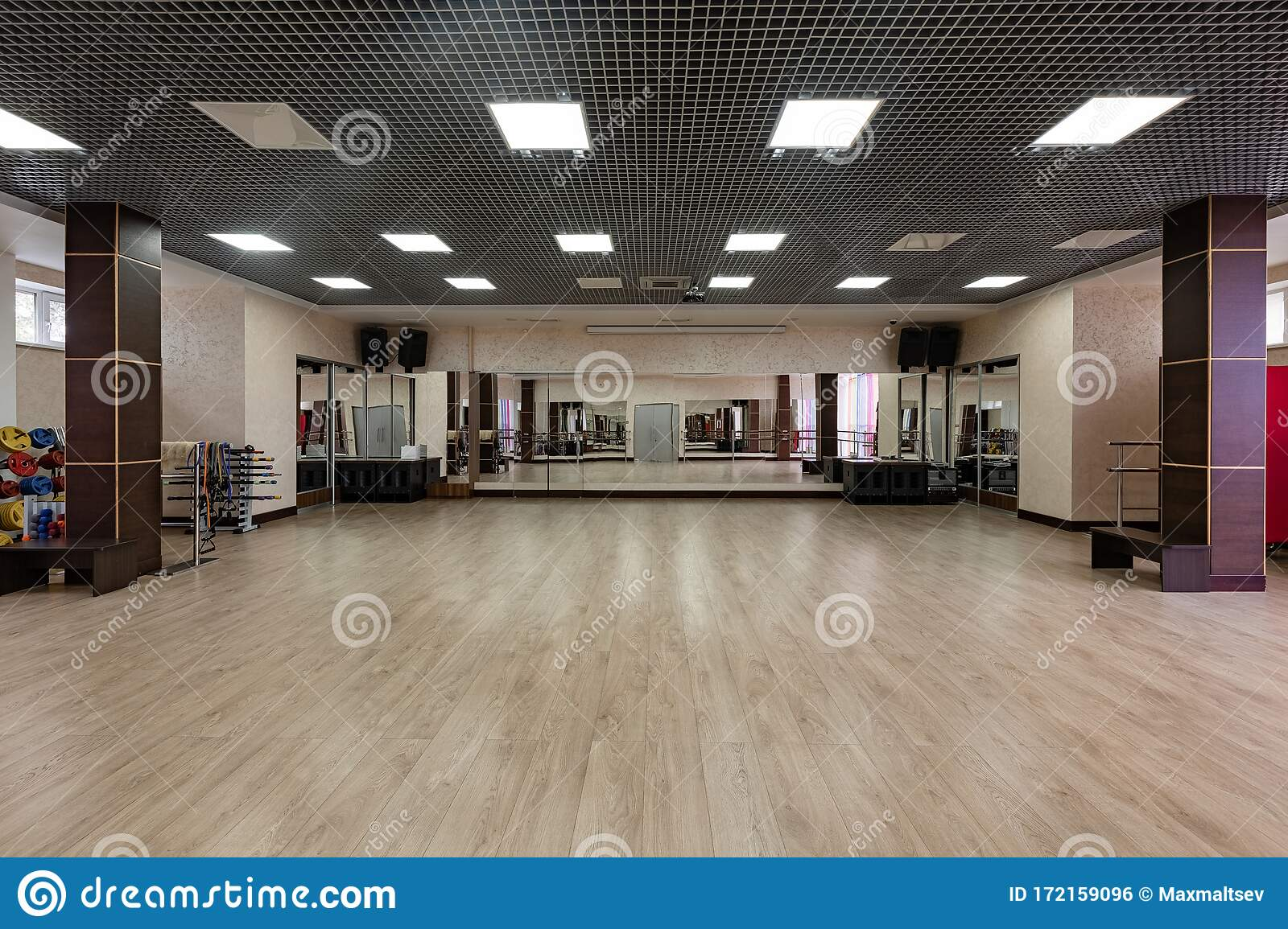 Group Fitness Room Modern Interior Design Fitness Workout Fitness Gym Background Gym Equipment Background Empty Stock Photo Image Of Body Exercise 172159096