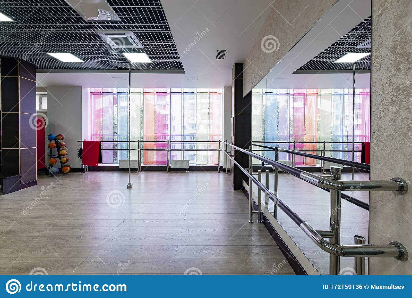 Group Fitness Room Modern Interior Design Fitness Workout Fitness Gym Background Gym Equipment Background Empty Stock Photo Image Of Equipment Design 172159136