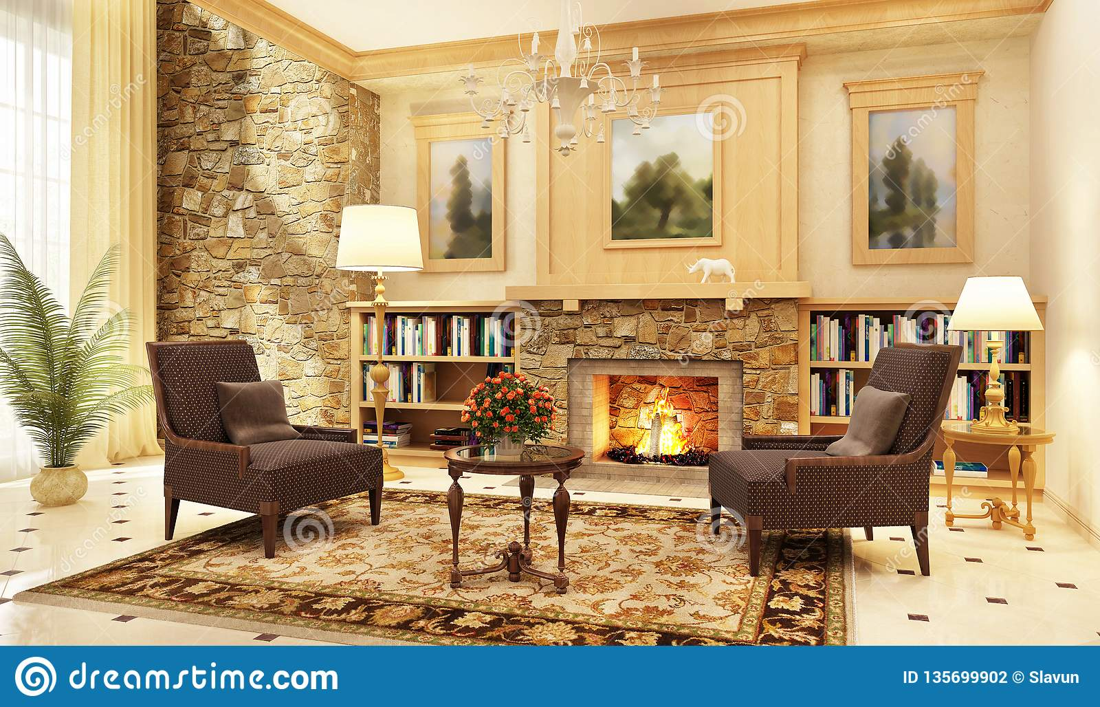 Large Living Room Interior Design With Fireplace And Armchairs Stock Photo Image Of Indoors Carpet 135699902