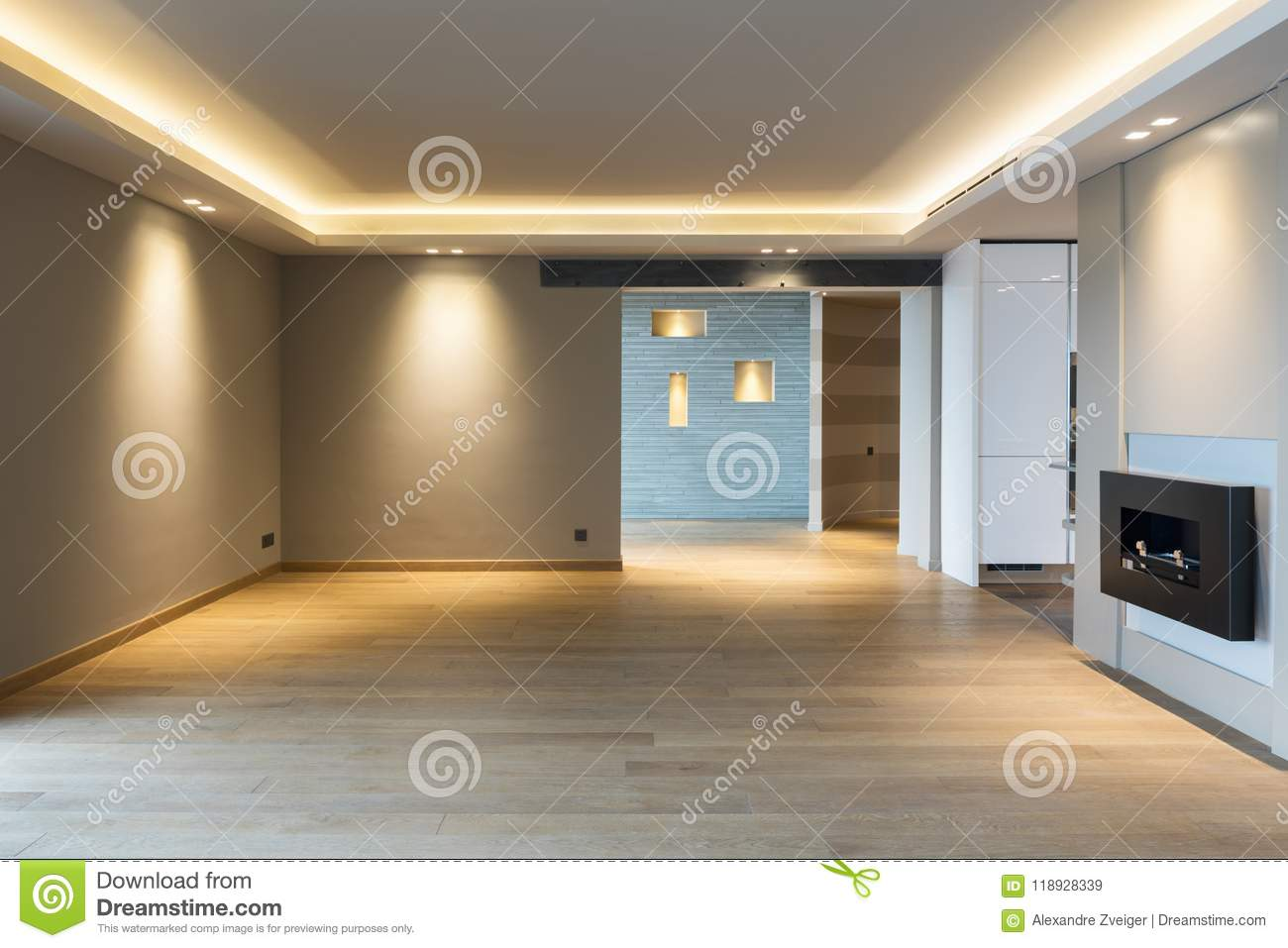 Large Living Room In Modern Apartment Stock Image - Image of ...