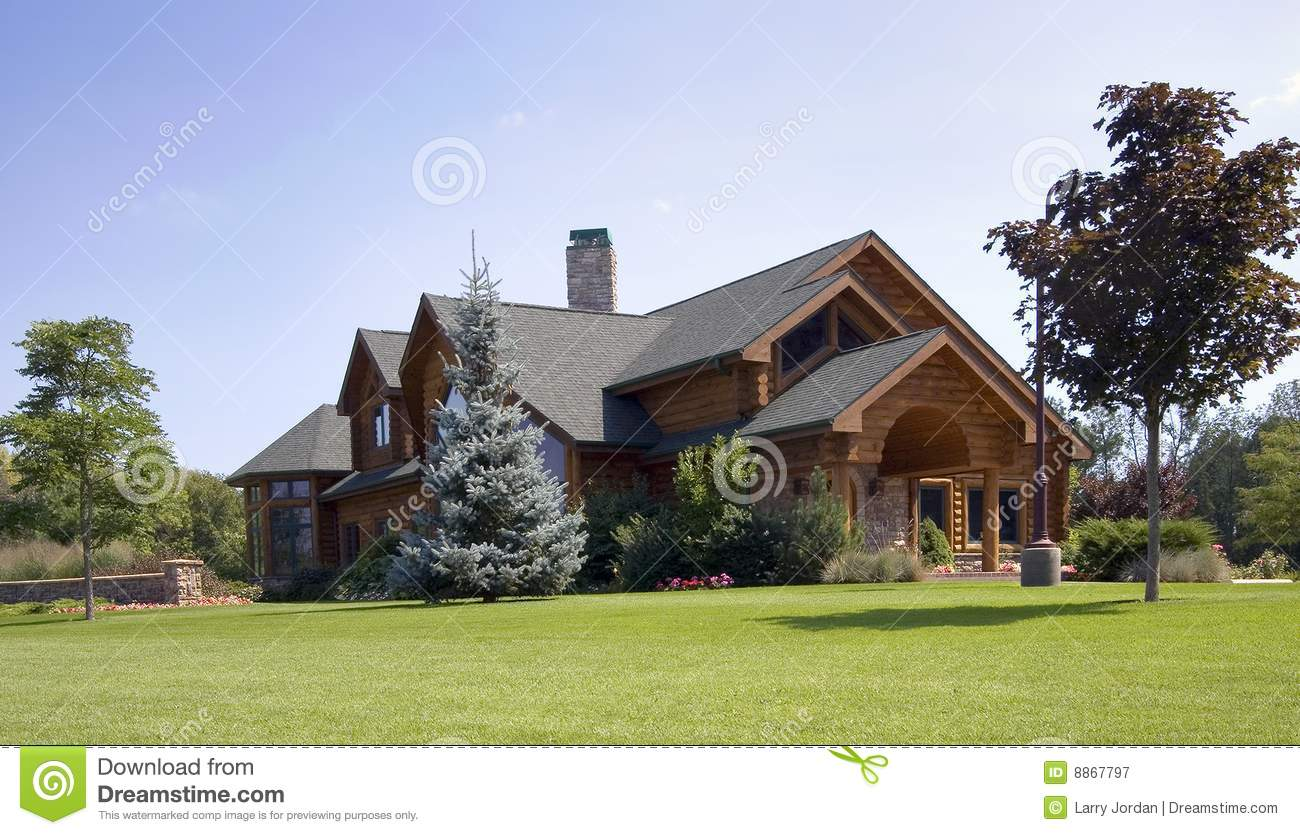 Large log cabin home stock image image of pine expensive for Large log cabin homes
