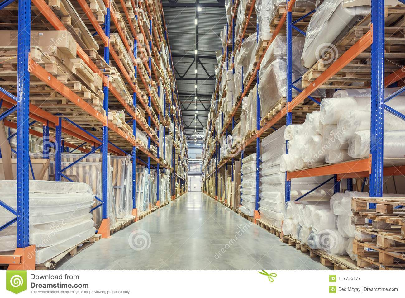 Large Logistics hangar warehouse with lots shelves or racks with pallets of goods. Industrial shipping and cargo delivery