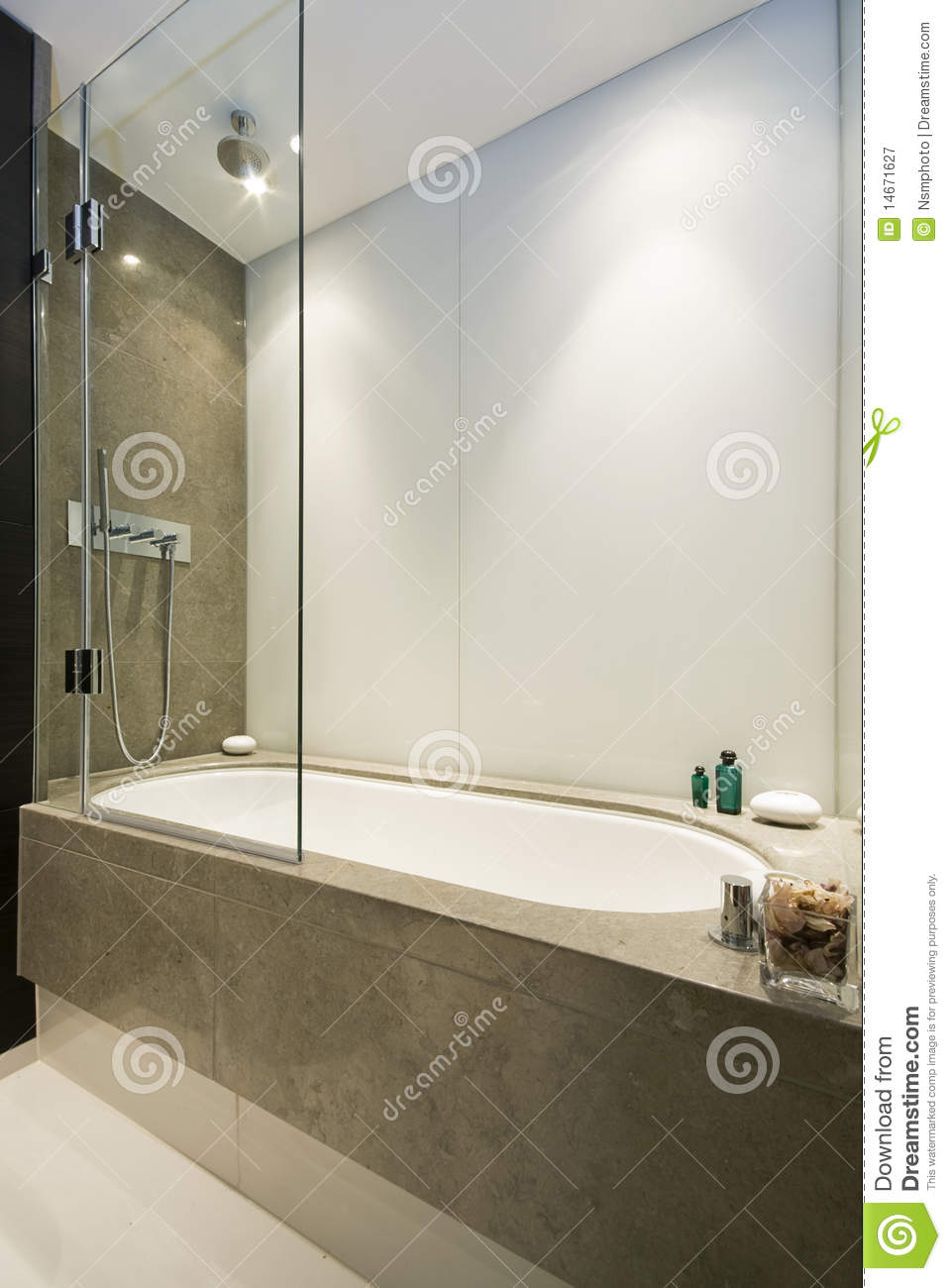 Large luxury bath with shower attachment stock image for Oversized baths