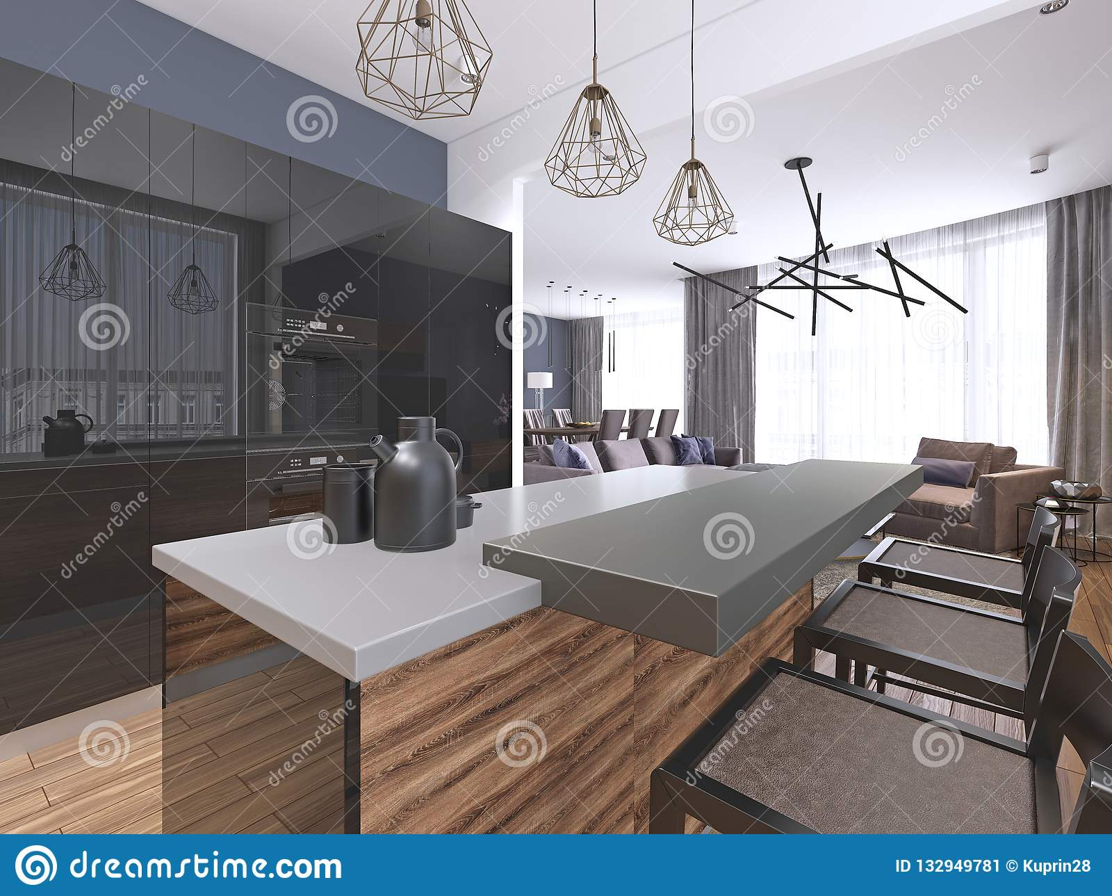 Large Luxury Contemporary Kitchen With Stone Island Bench