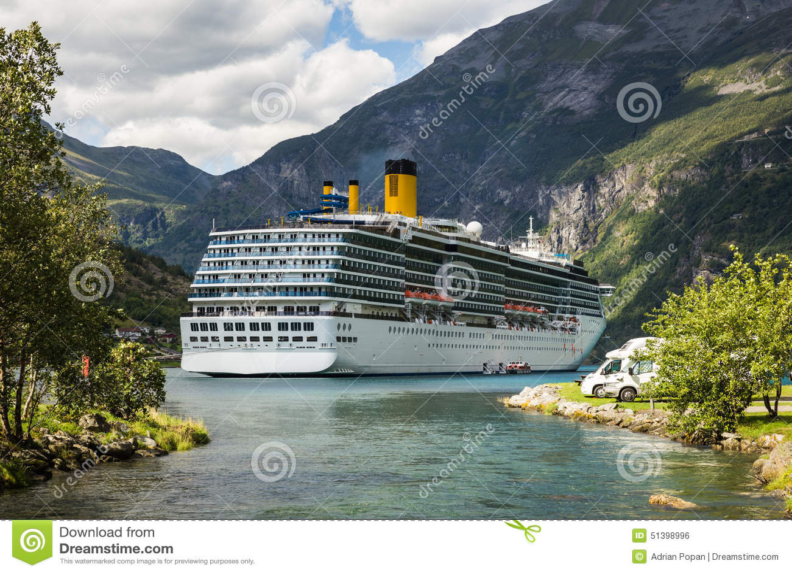 Large Luxury Cruise Ship In Norway Fjords Stock Photo Image - Cruise ship norway