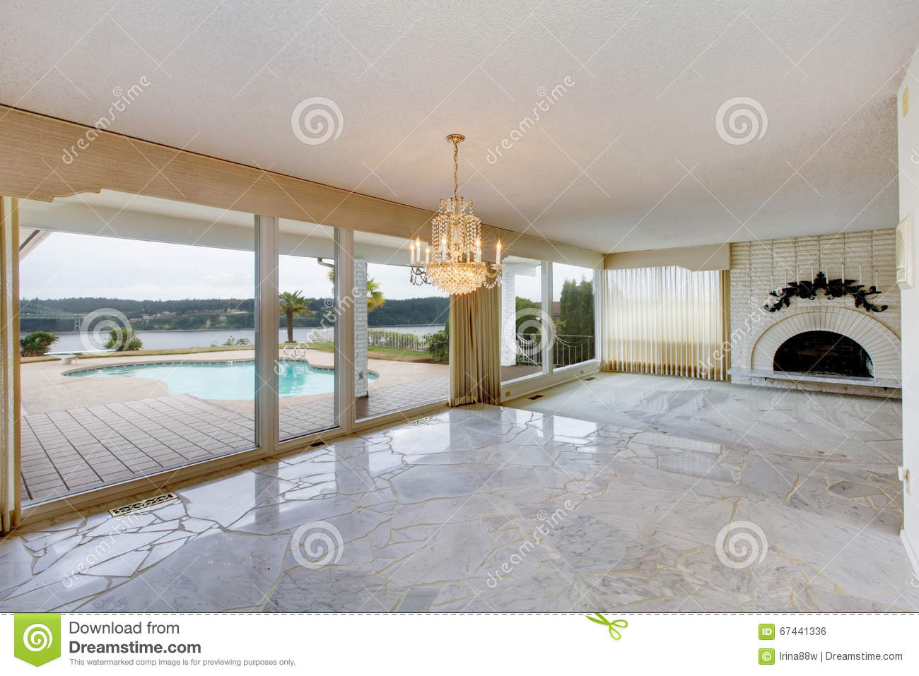 Large Luxury Empty Living Room With White Marble Floor Large Wi Stock Photo Image Of Room