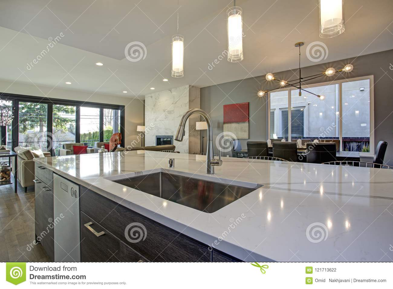 White And Gray Kitchen Room Interior With Open Floor Plan Stock