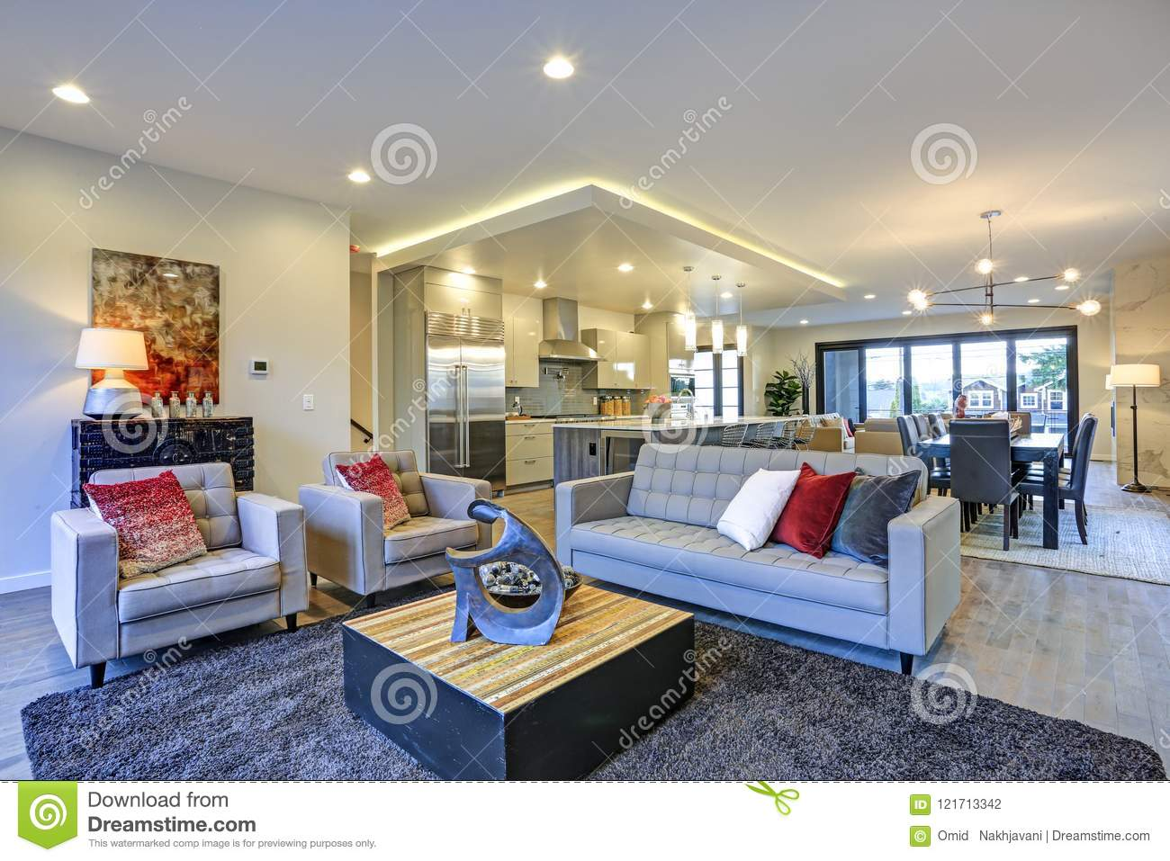 White And Gray Living Room Interior With Open Floor Plan