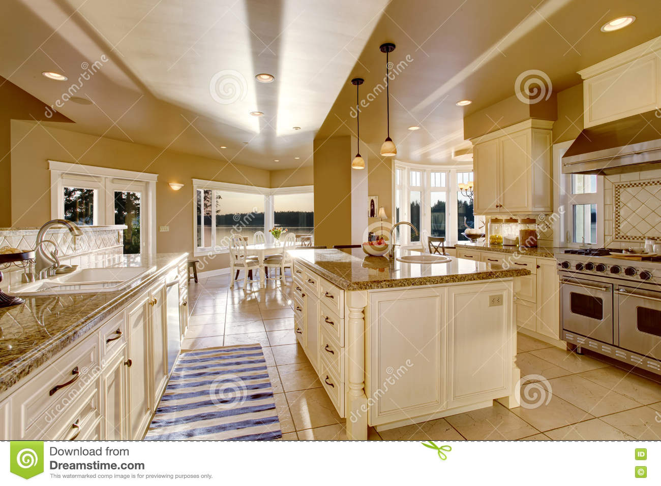 Large Luxury Kitchen Room In Beige Colors With Granite ...