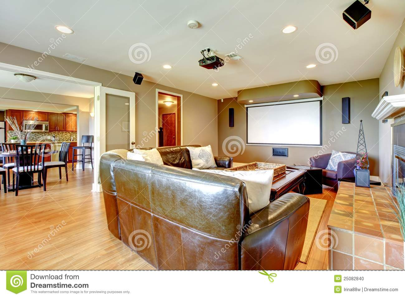 Large luxury living room home theater stock photo image for Living room theater