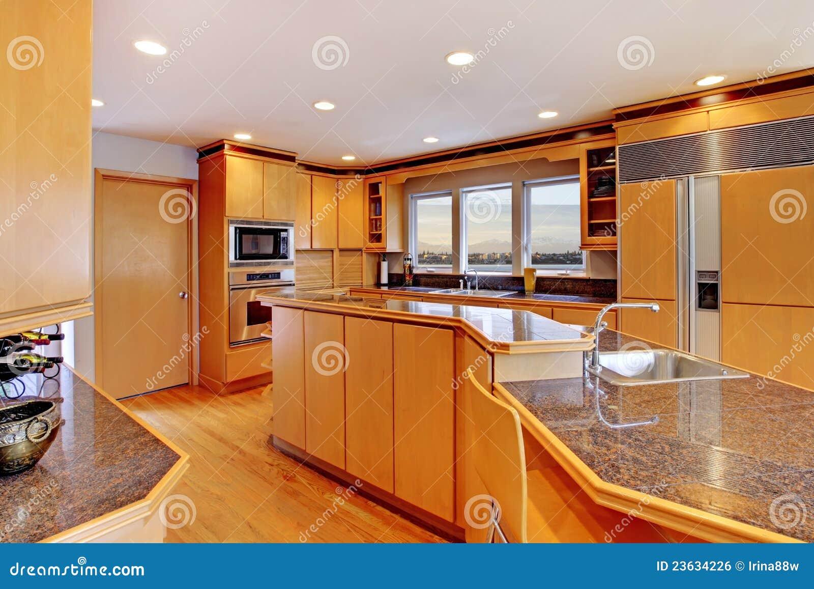 Large luxury modern wood kitchen stock photo image for Large modern kitchen