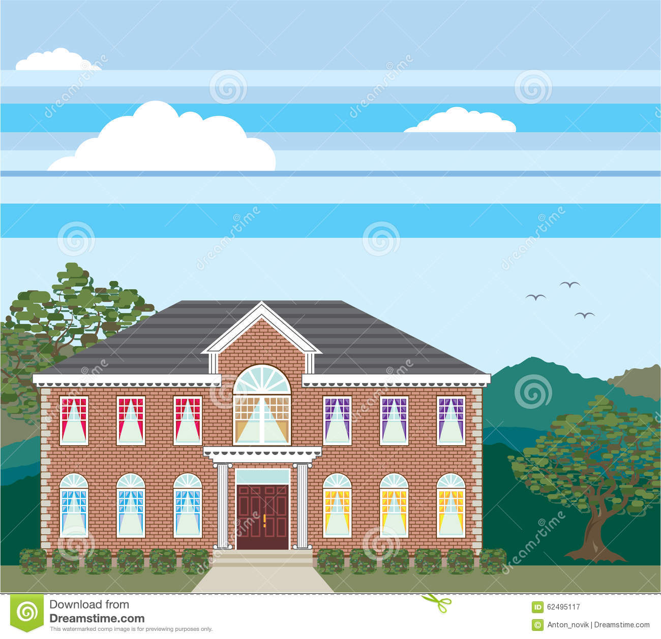 Large Mansion House Vector Brick Detailed. Stock Vector ...