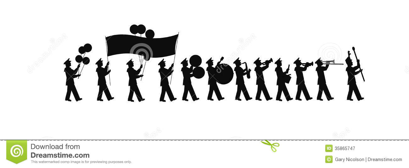 large marching band in silhouette stock vector
