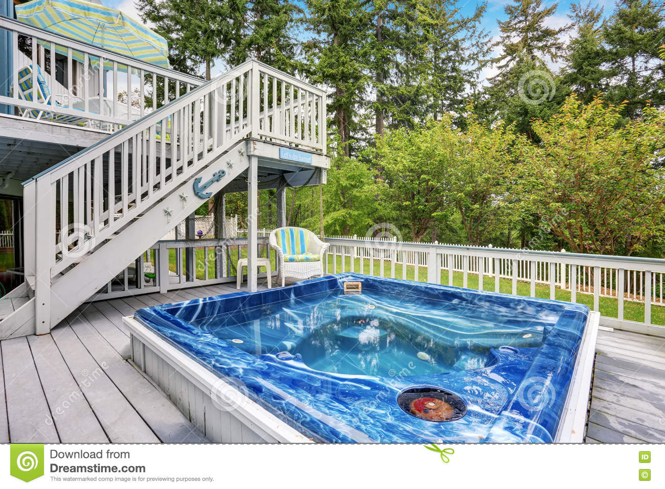 Large Marine Style Home With Two Level Deck. Jacuzzi View Stock ...