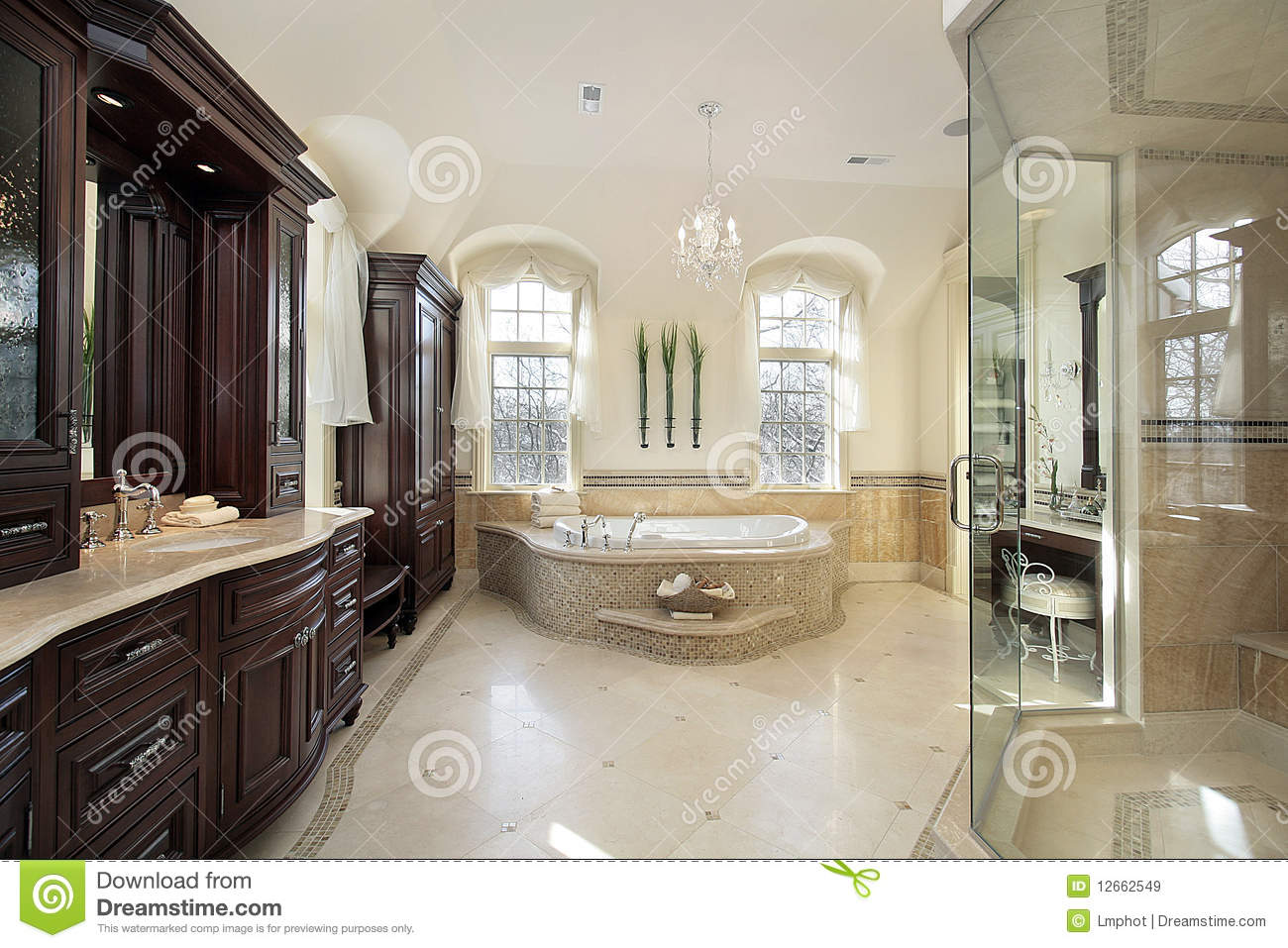 Large Master Bath Stock Image Image Of Upscale Fixtures 12662549