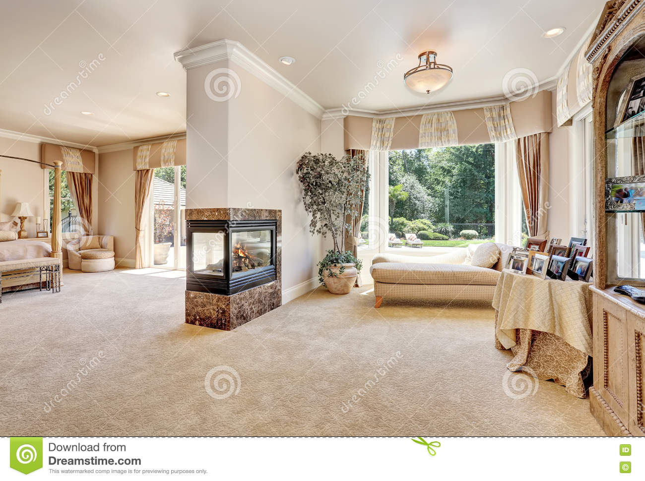 Luxury Homes Master Bedroom large master bedroom in luxury home with doors to balcony. stock