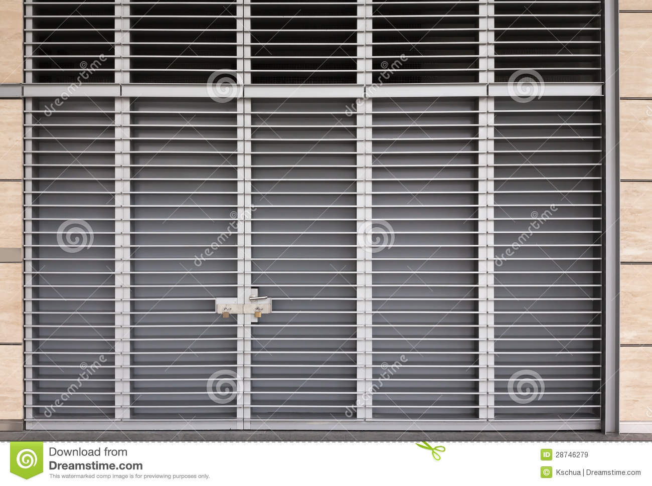 Big Metal Door : Two large metal bolt with nut tightened stock photo