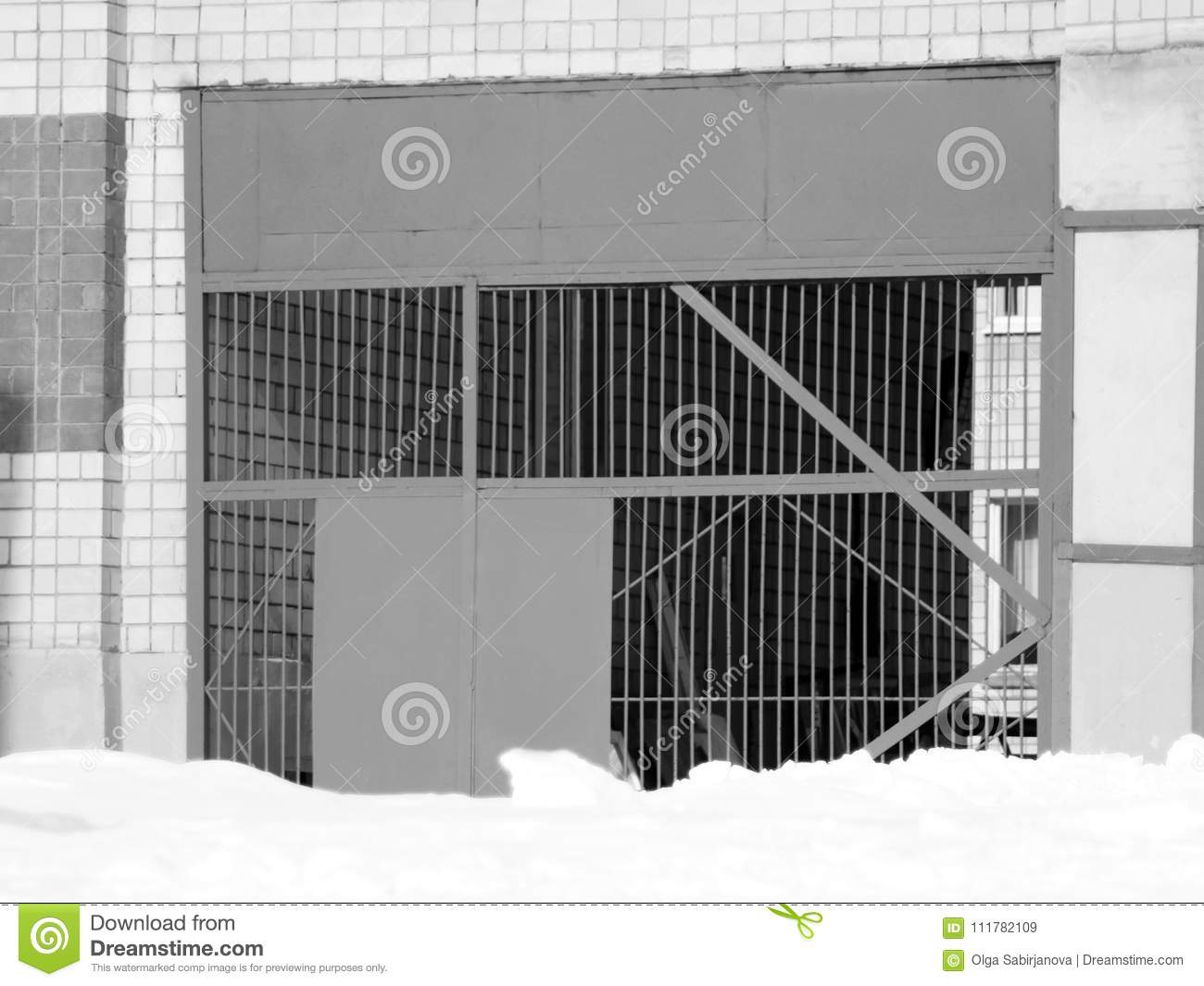 Large metal gate in the building