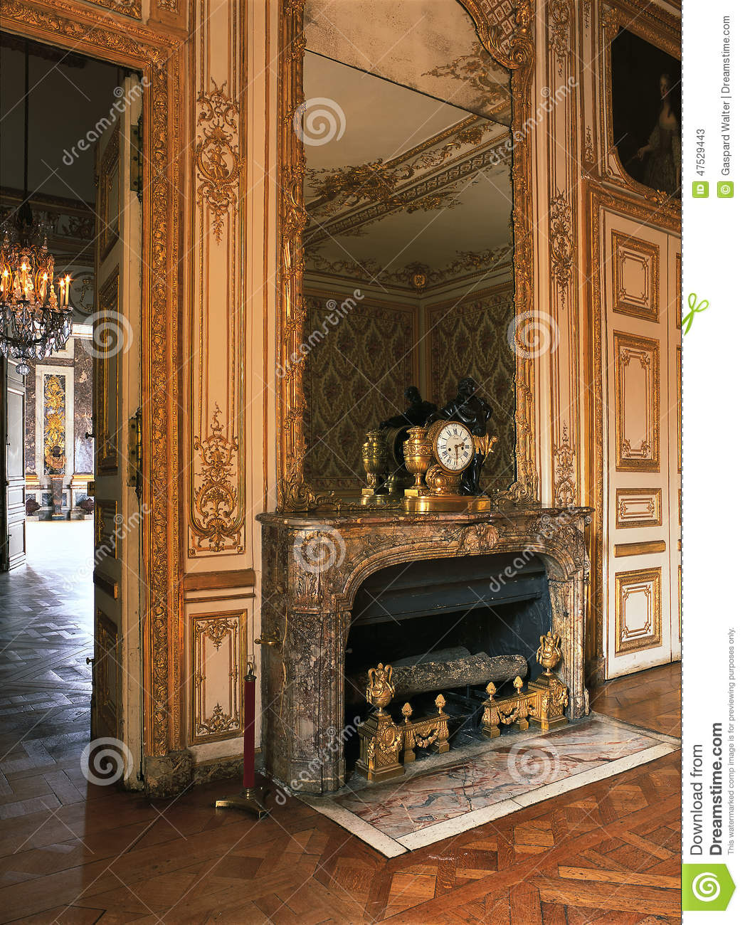 large mirror on a fireplace at versailles palace france editorial