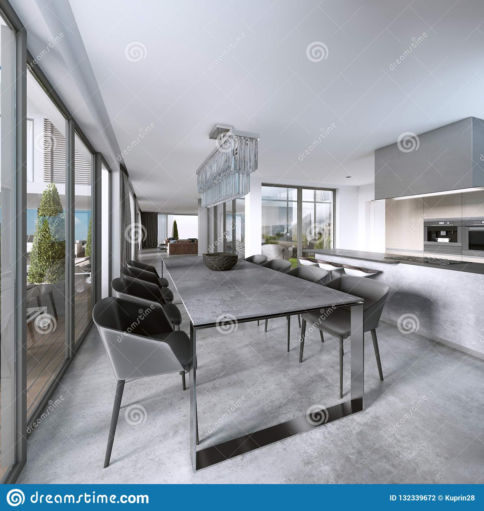 Large Modern Dining Table In Contemporary Kitchen Stock