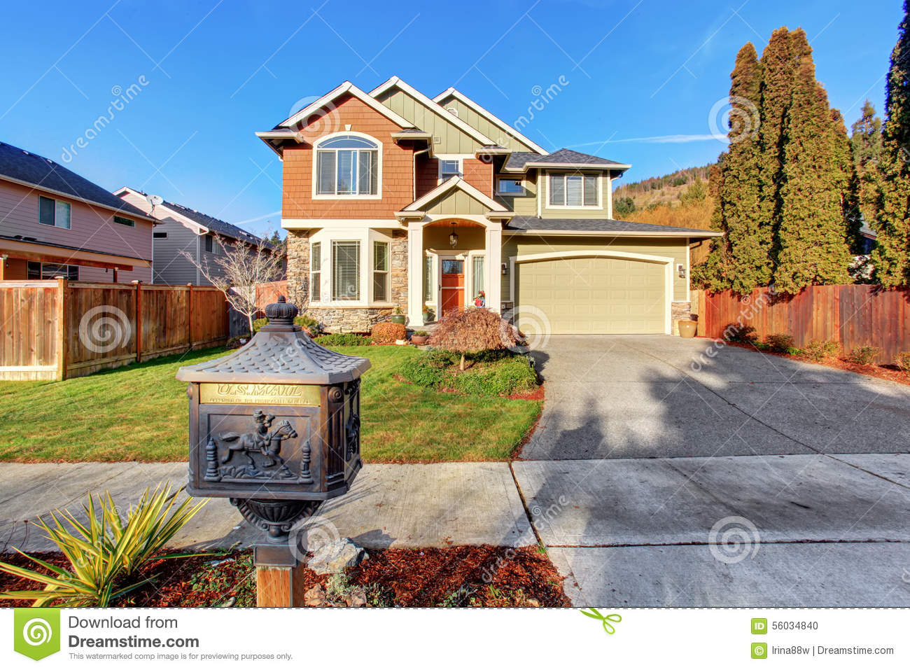 Large modern house with driveway and garage stock photo for House with big garage