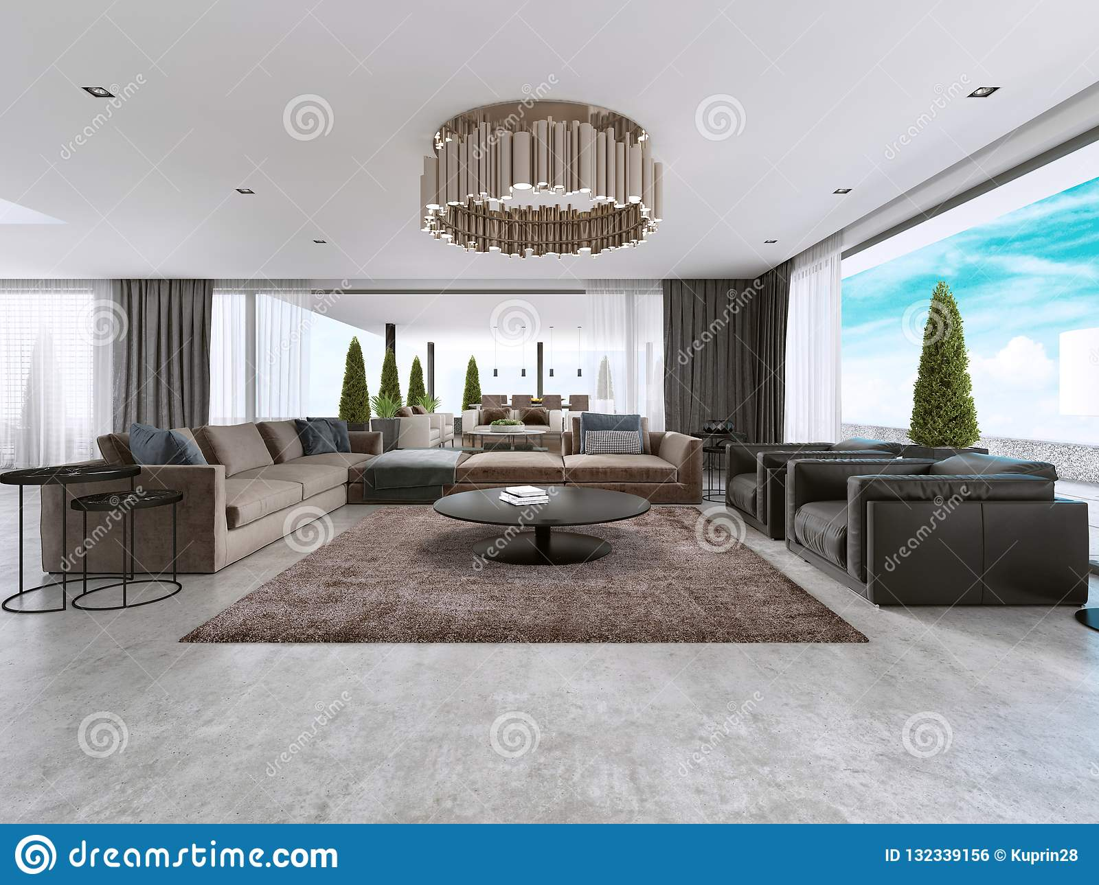 Large Modern Living Room Open Space in a Modern Style Stock ...
