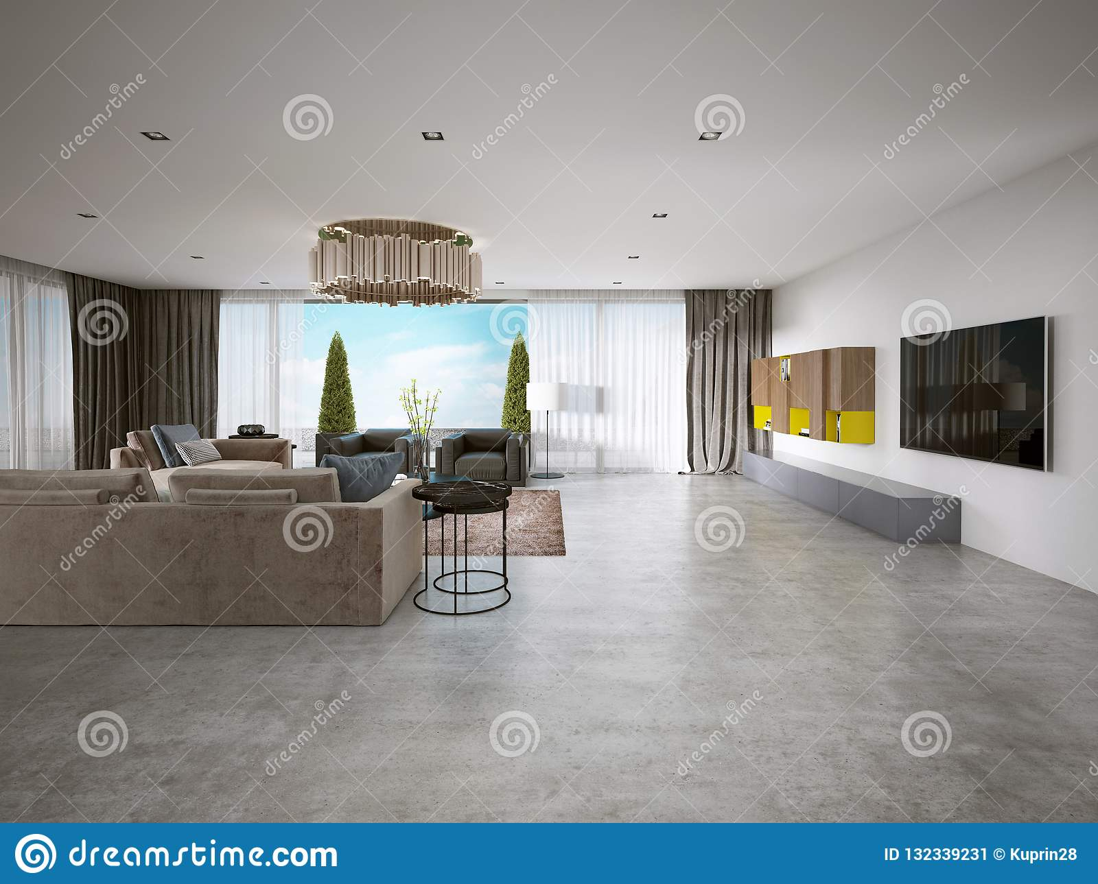 Large Modern Living Room Open Space In A Modern Style Stock