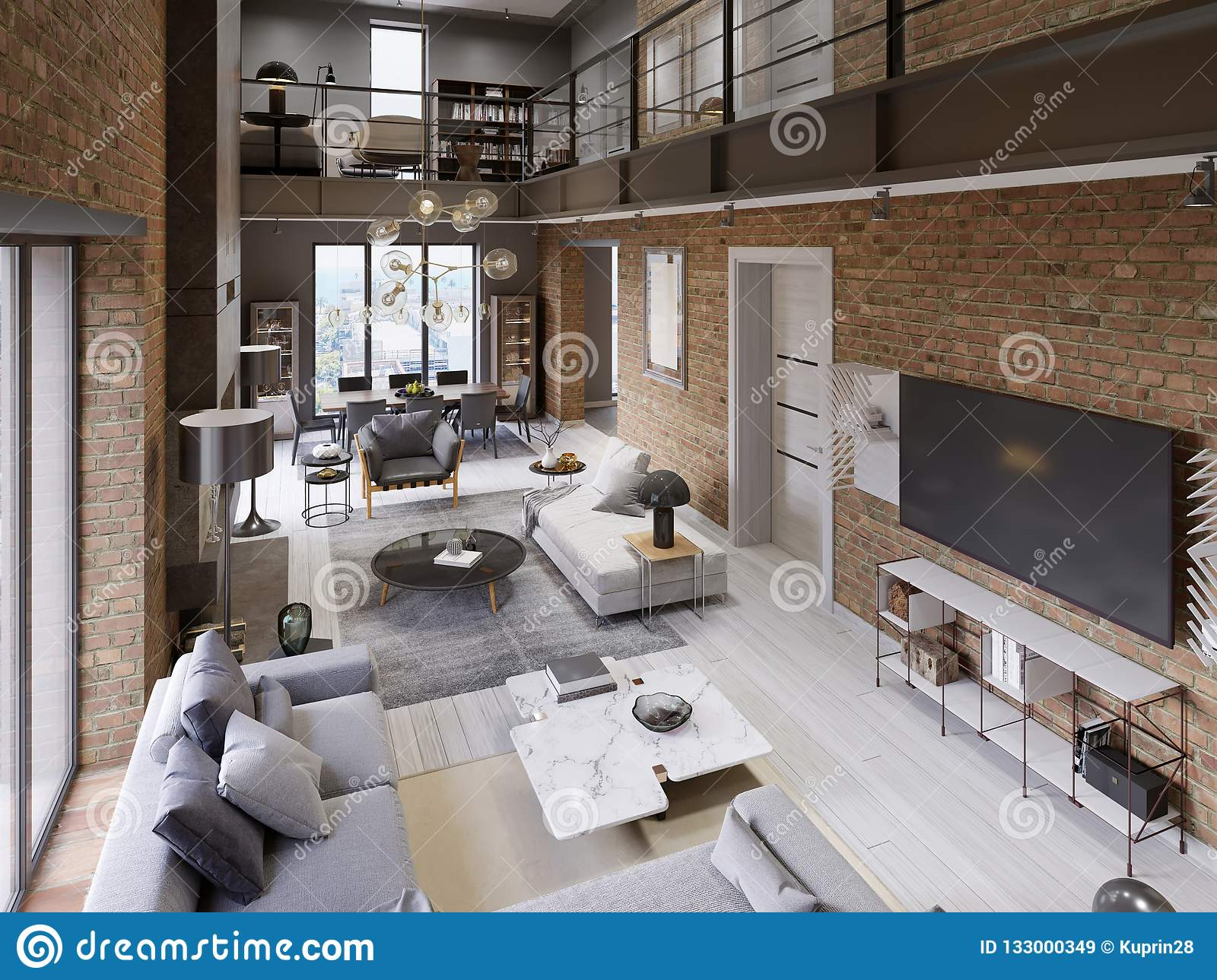 Large Modern Loft-style Apartment With Sofas, Armchair ...