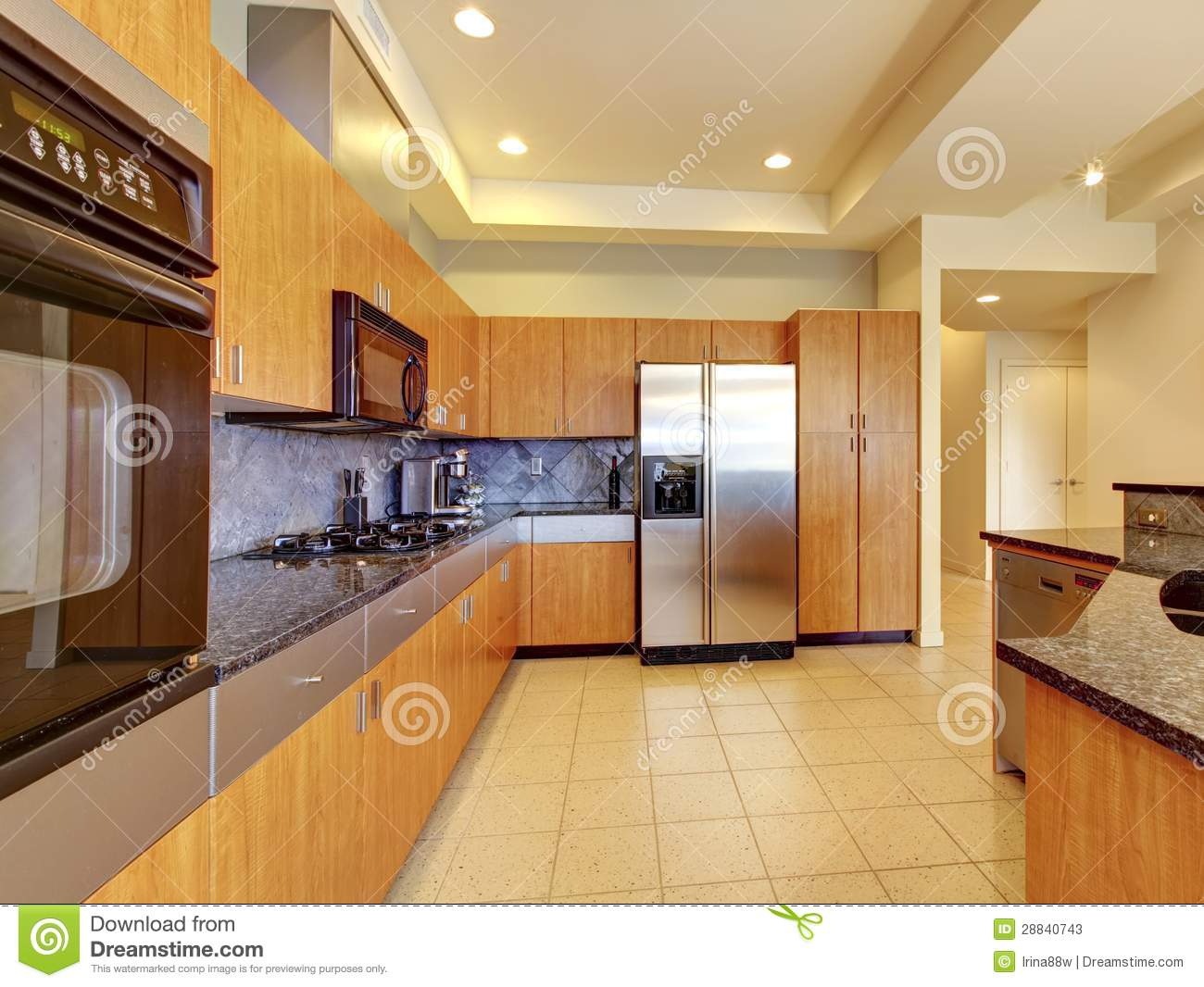 Large modern wood kitchen with living room and high ceiling stock photos image 28840743 - Plafond de cuisine design ...
