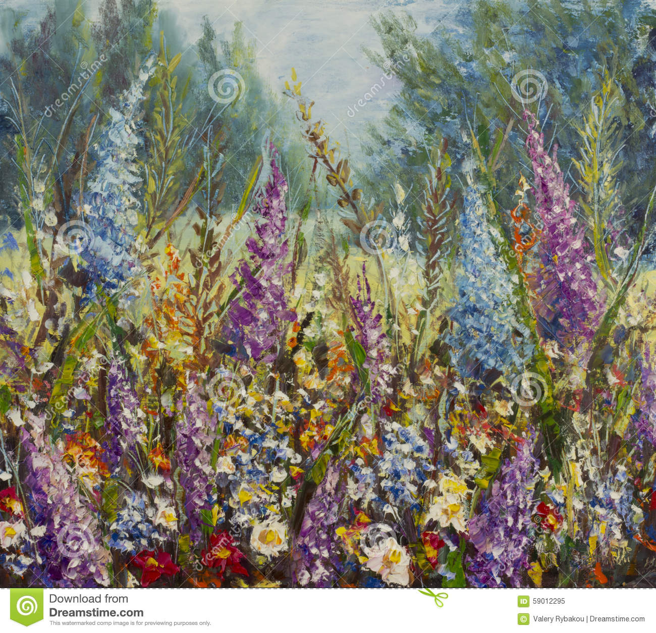 Large Multi Colored Flowers On A Meadow Near The Forest Stock Illustration