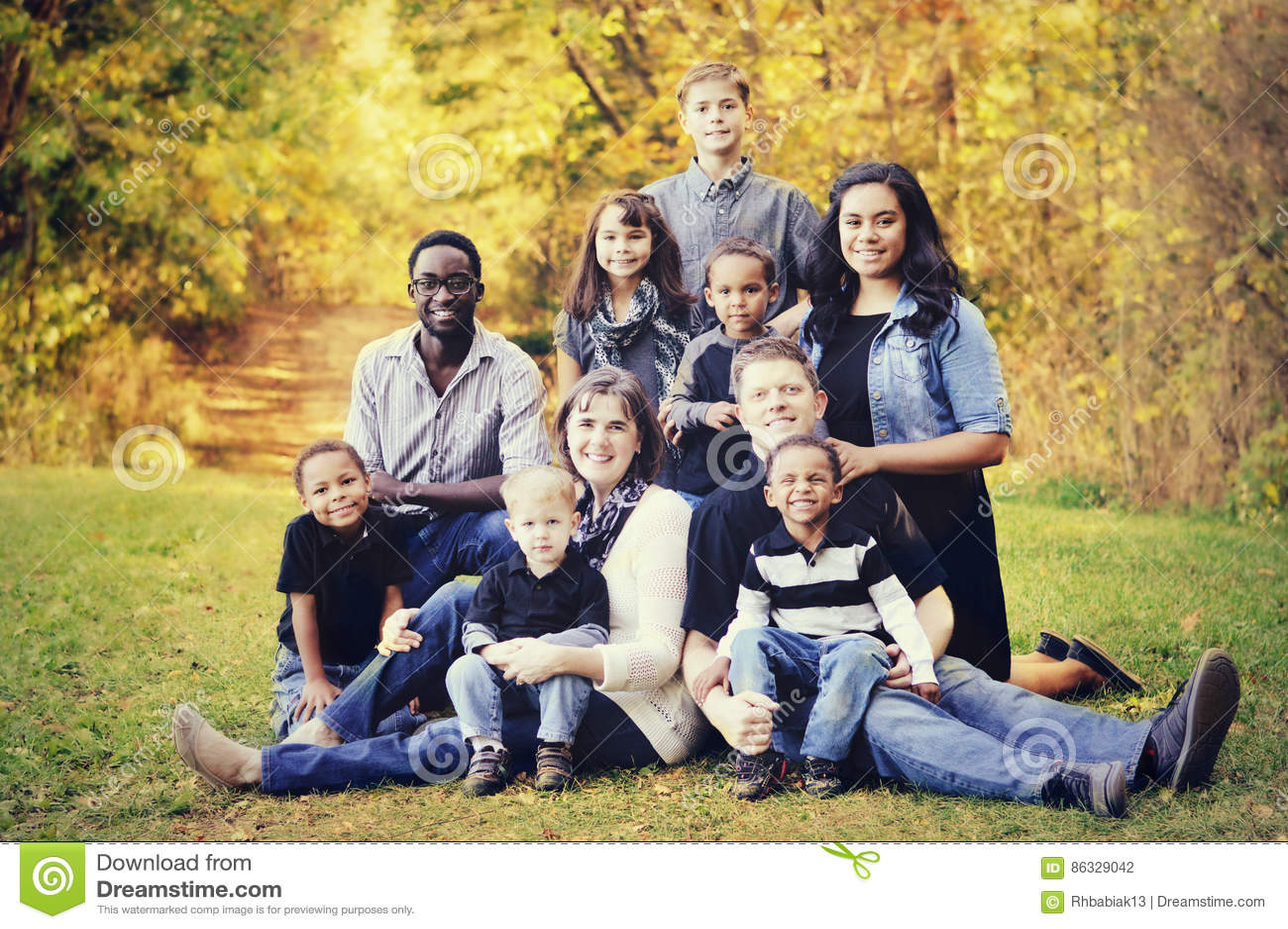 Large Multi Racial Family