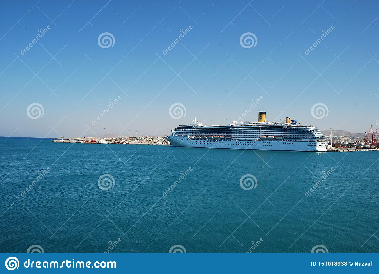Large multideck cruise liner in the port of Heraklion on the island of Crete