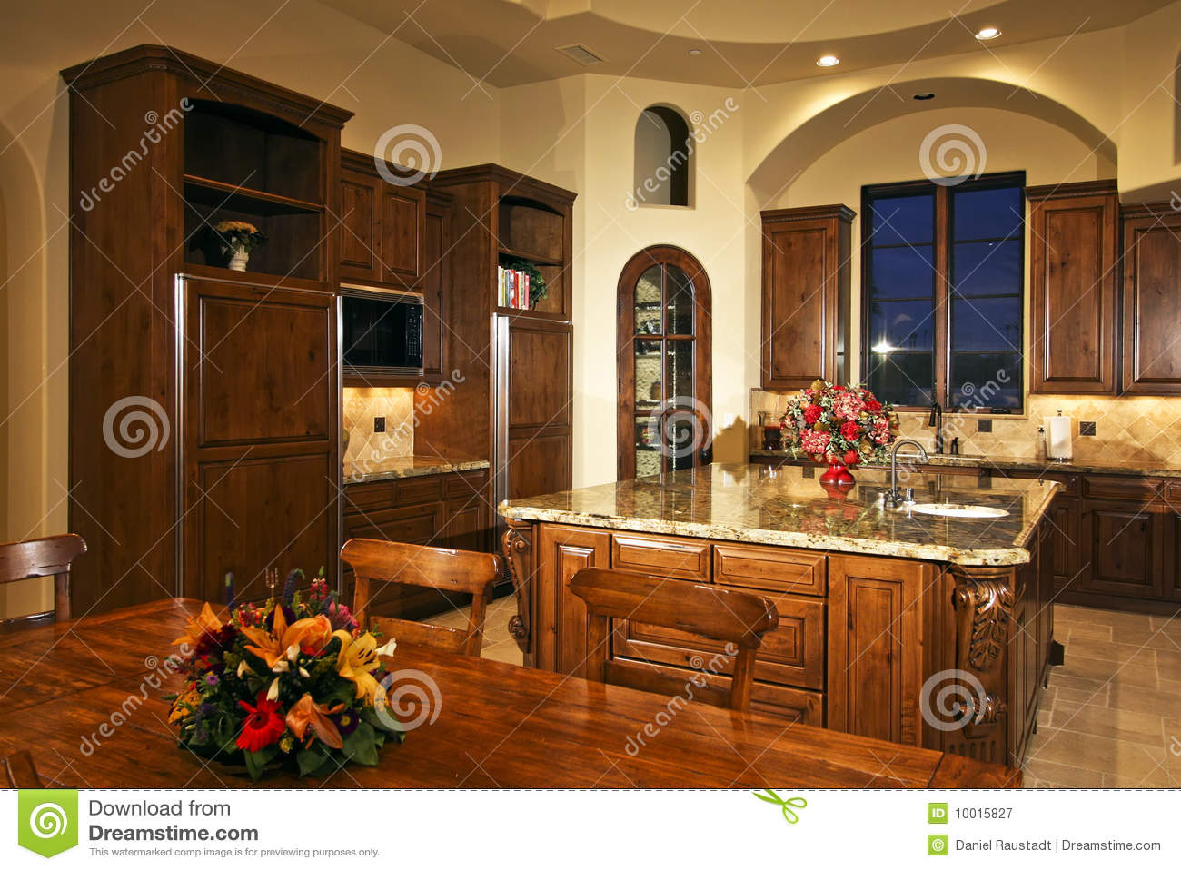 Large New Mansion Home Kitchen Stock Image Image Of