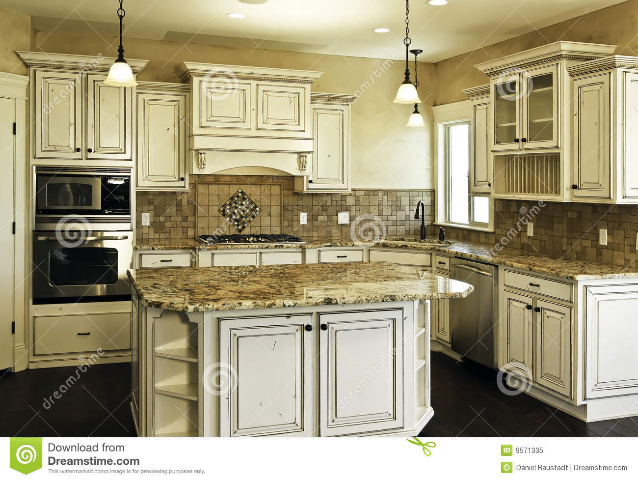Large New Modern White Kitchen Royalty Free Stock Photo