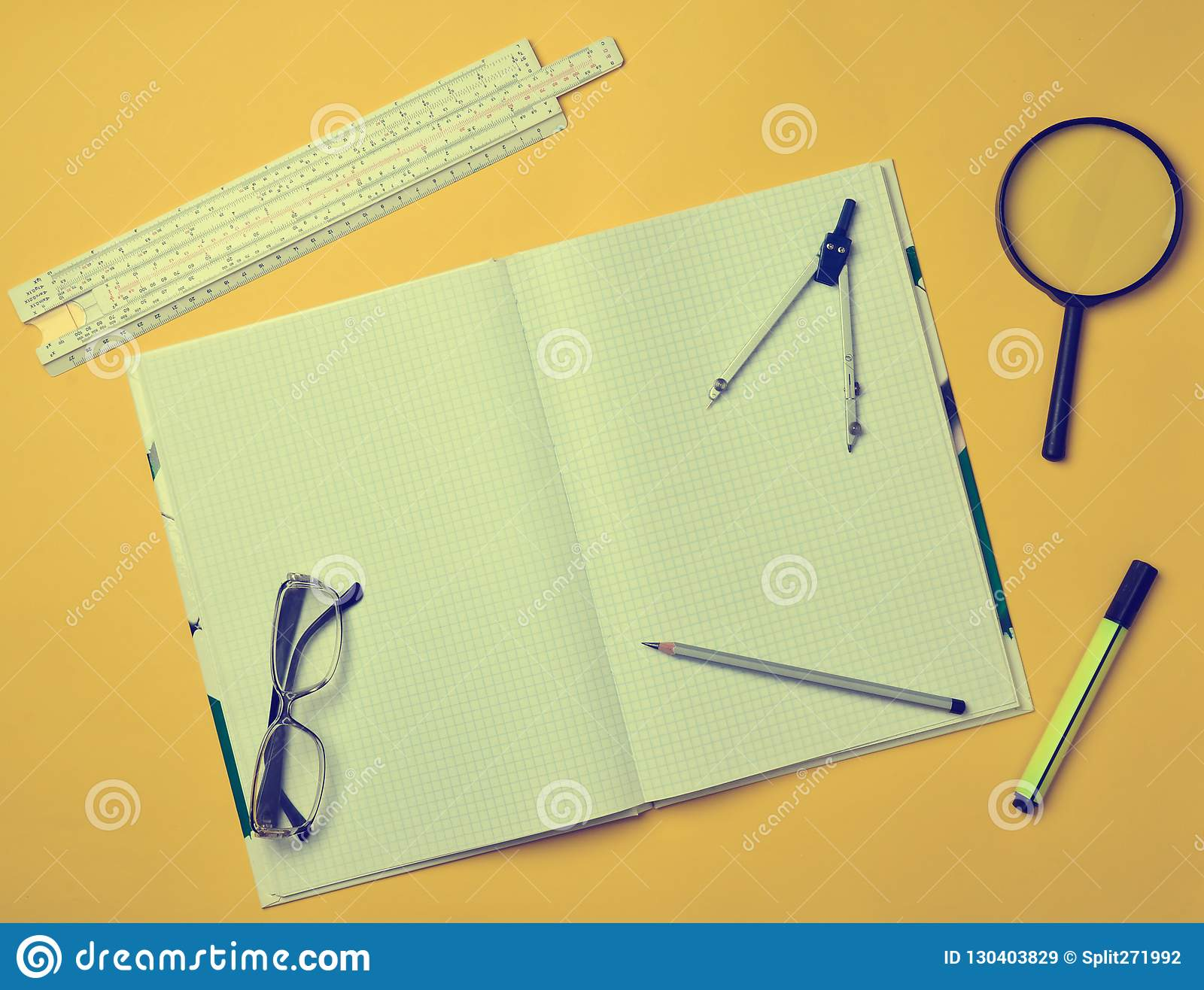 A Large Notebook For Notes And Drafting With Stationery Objects