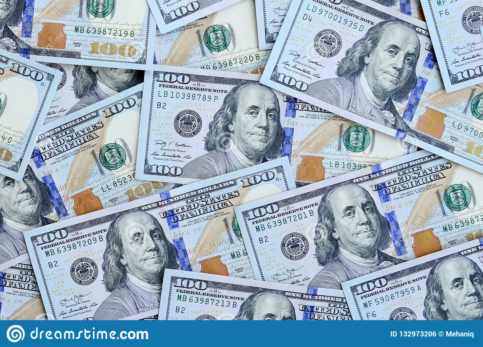 A Large Number Of US Dollar Bills Of A New Design With A Blue Stripe