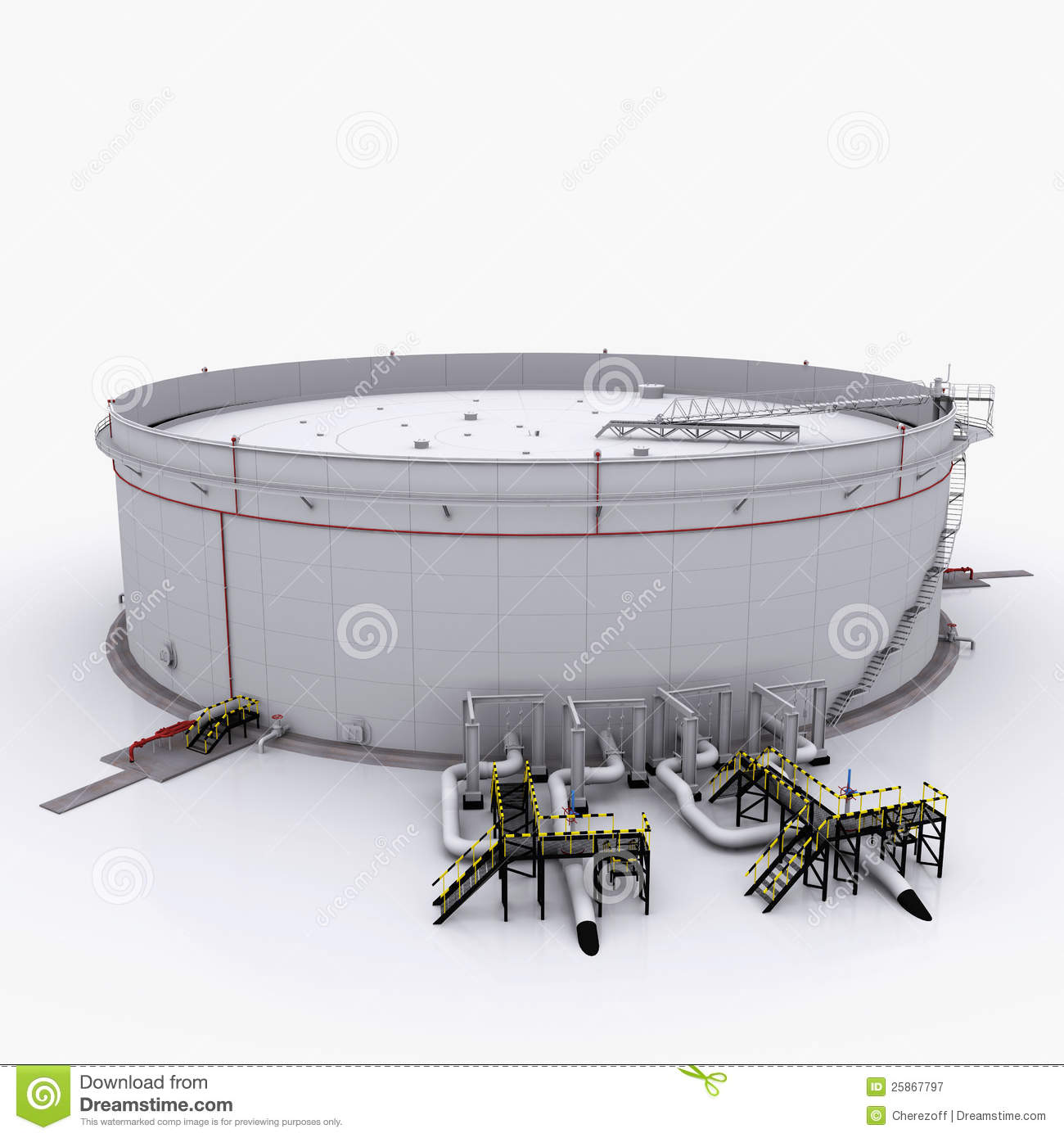 Large Oil Tank With Floating Roof Stock Illustration