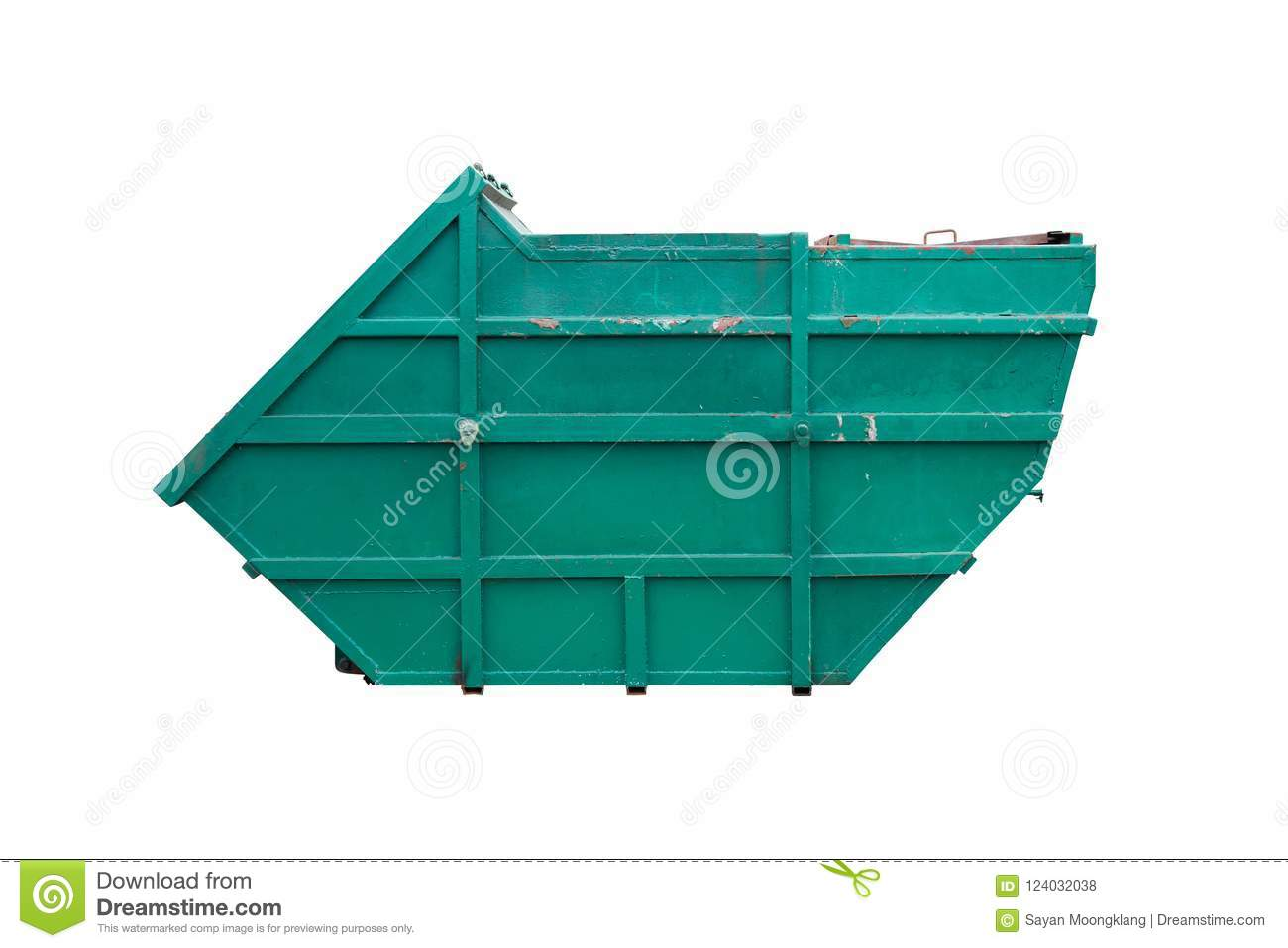 Large Old Iron Trash Painted Green To Prevent Rust Isolated On White